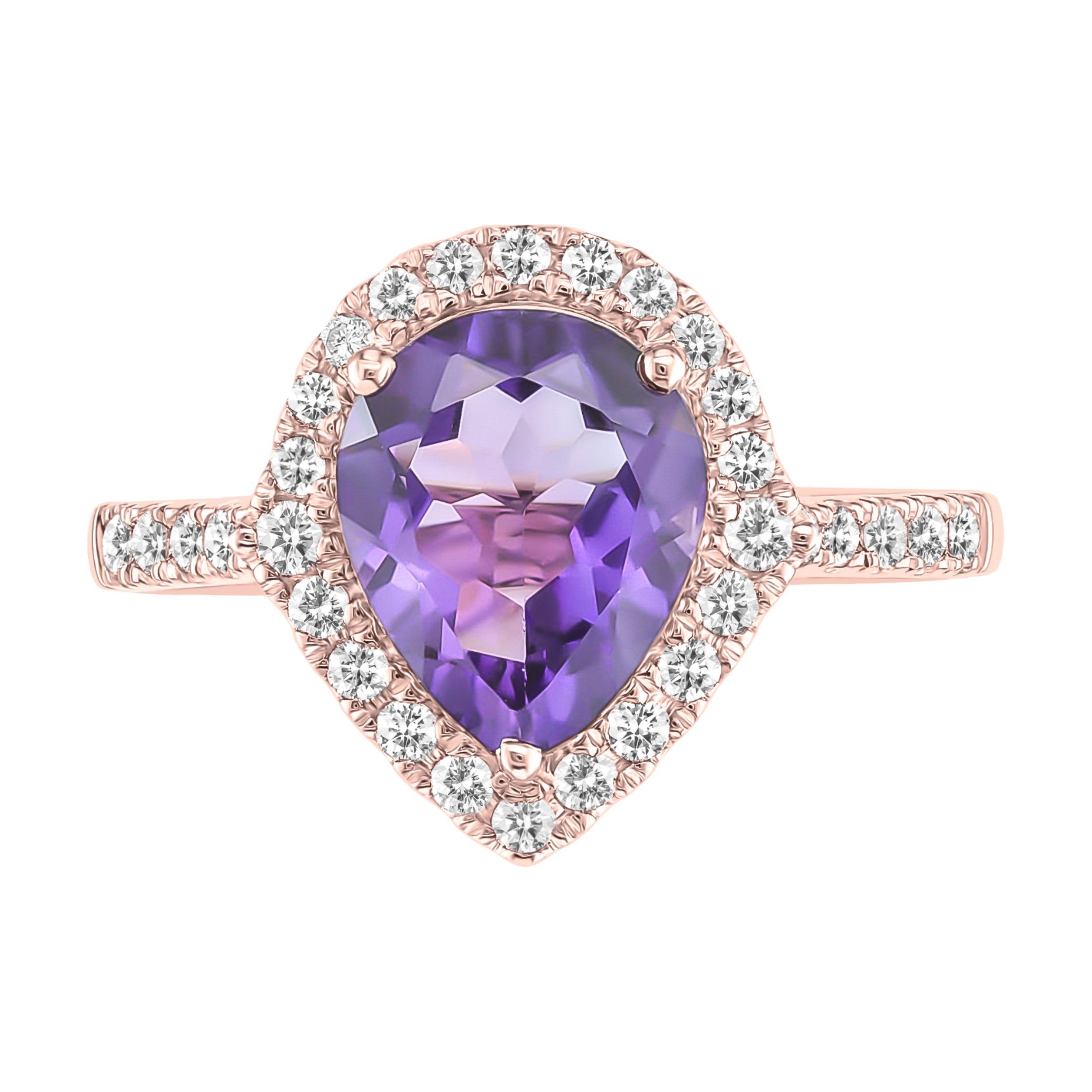Amethyst & Diamond Pear Ring in 10k Rose Gold