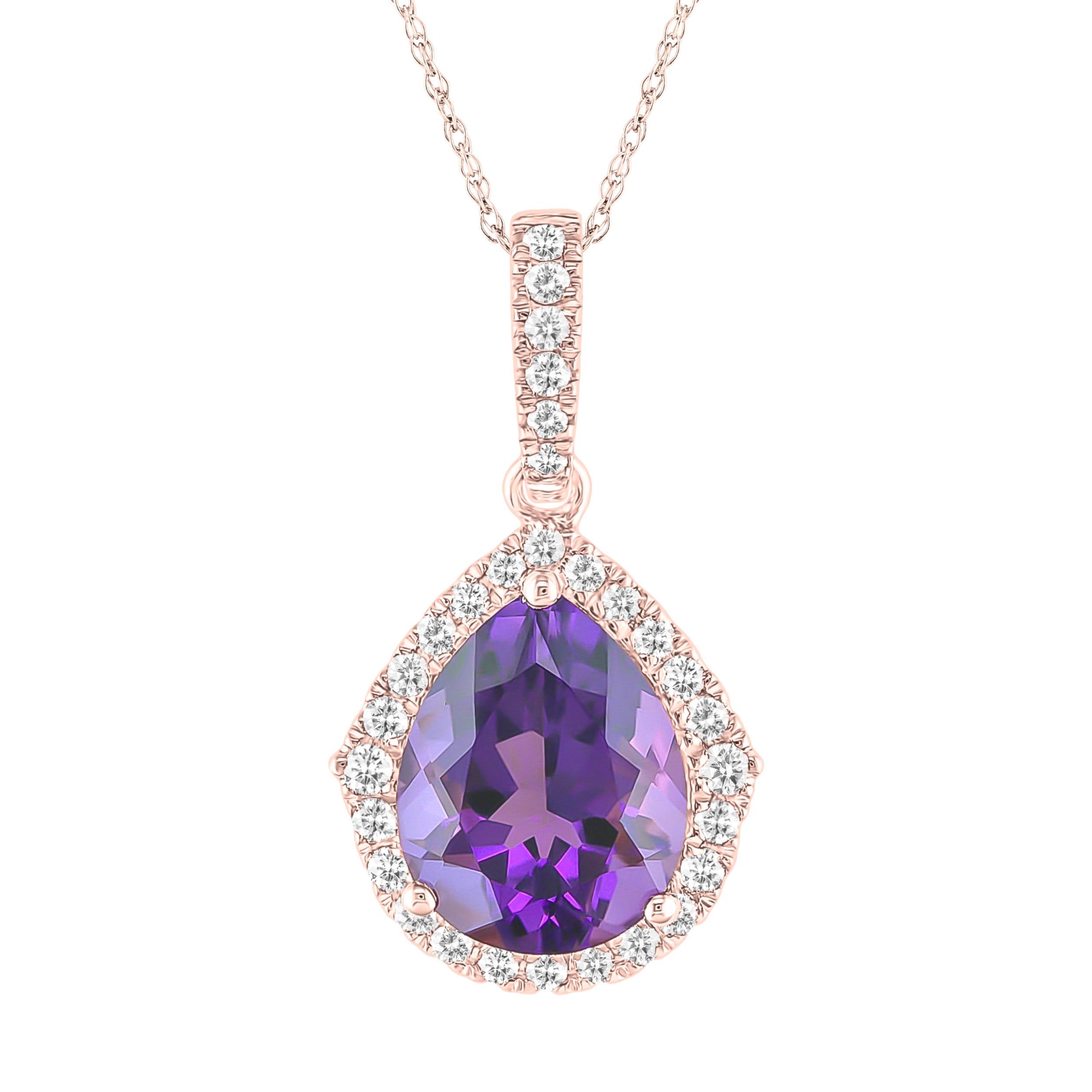 Amethyst & Diamond Pear Pendant in 10k Rose Gold
