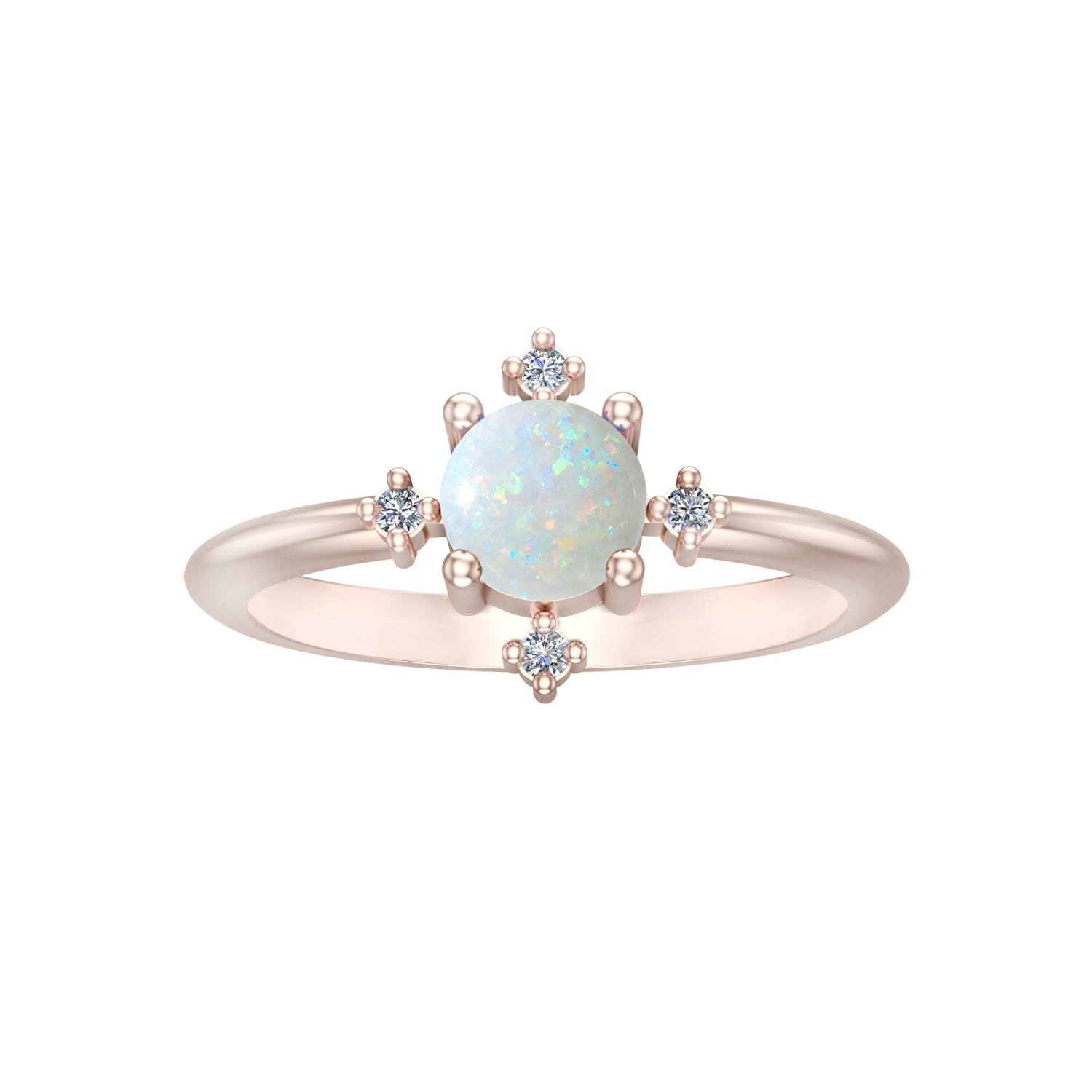 Created Opal & Diamond Ring in 10k Rose Gold