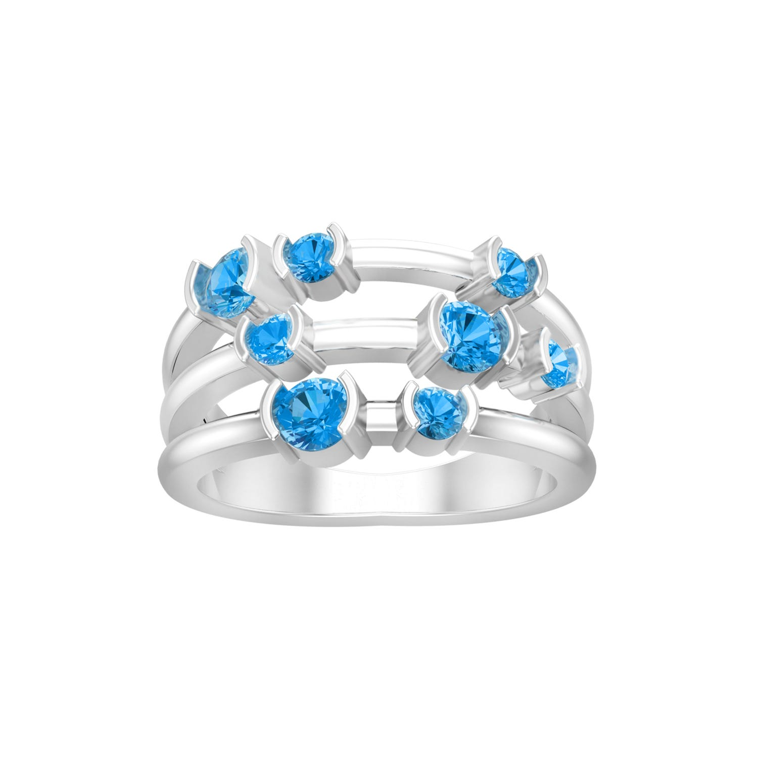 Blue Topaz 8 Stone Stackable Ring in Sterling Silver