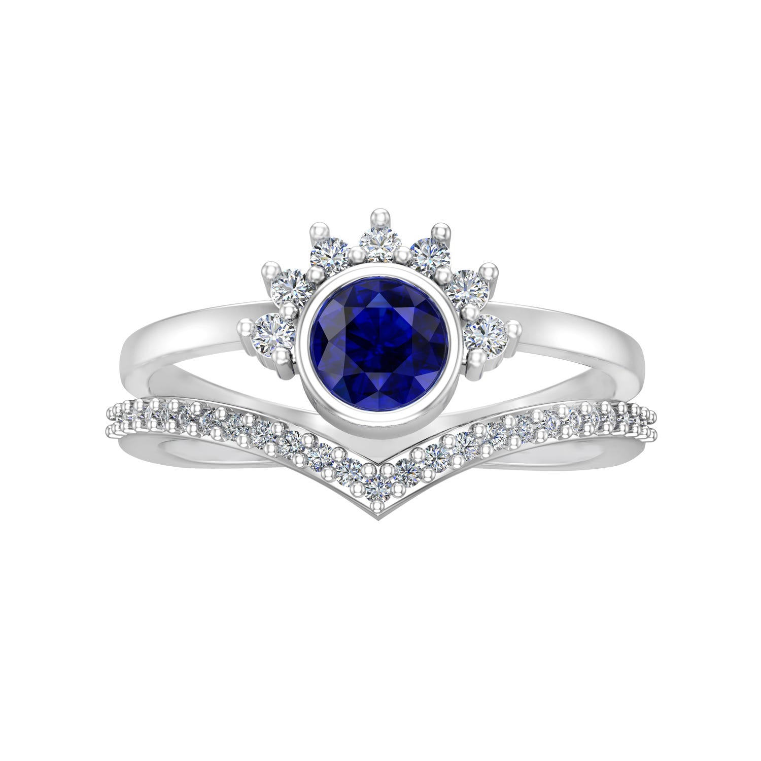 Created Sapphire, White Sapphire & Diamond Ring in 10k White Gold