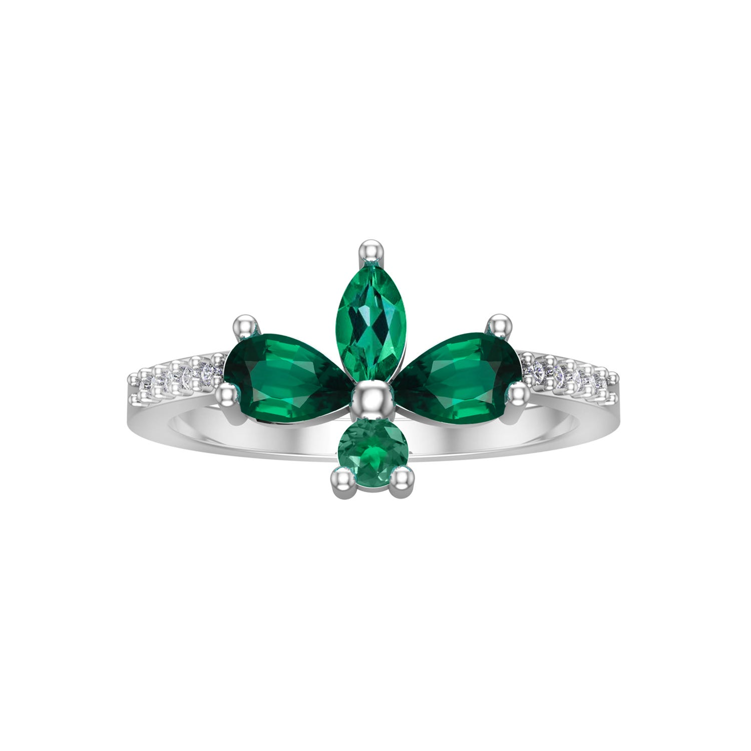 Created Emerald & Diamond Marquise Ring in 10k White Gold