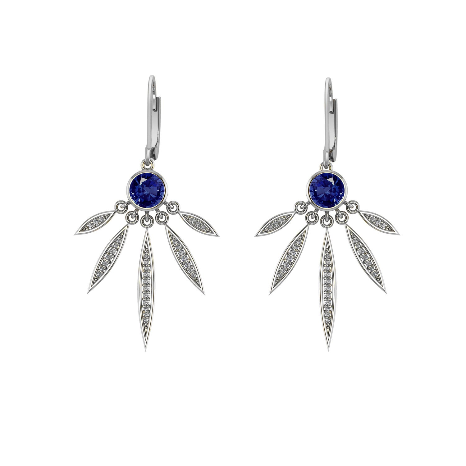 Created Sapphire and White Sapphire Earrings in Sterling Silver