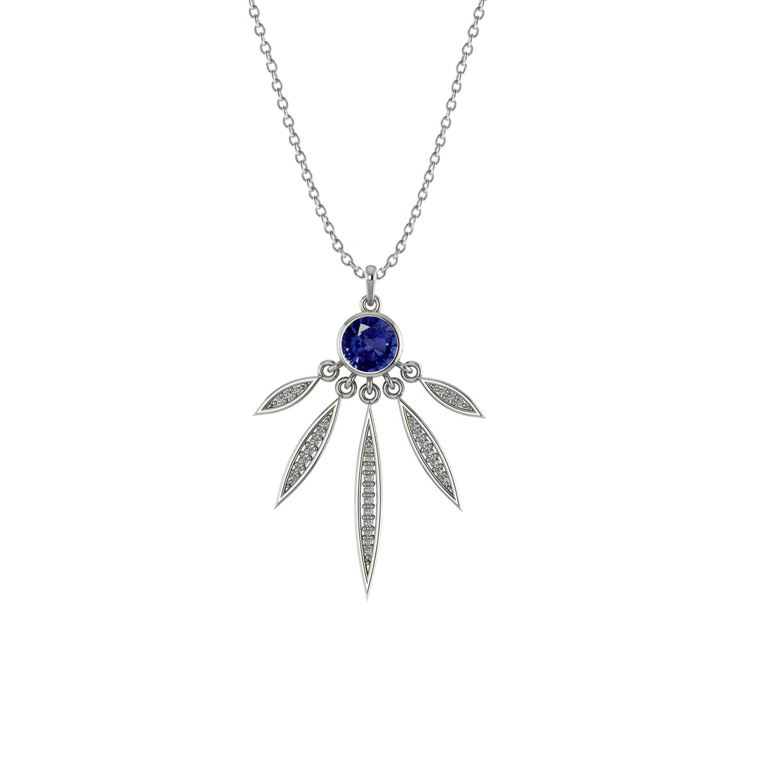 Created Blue & White Sapphire Feather Pendant in Sterling Silver