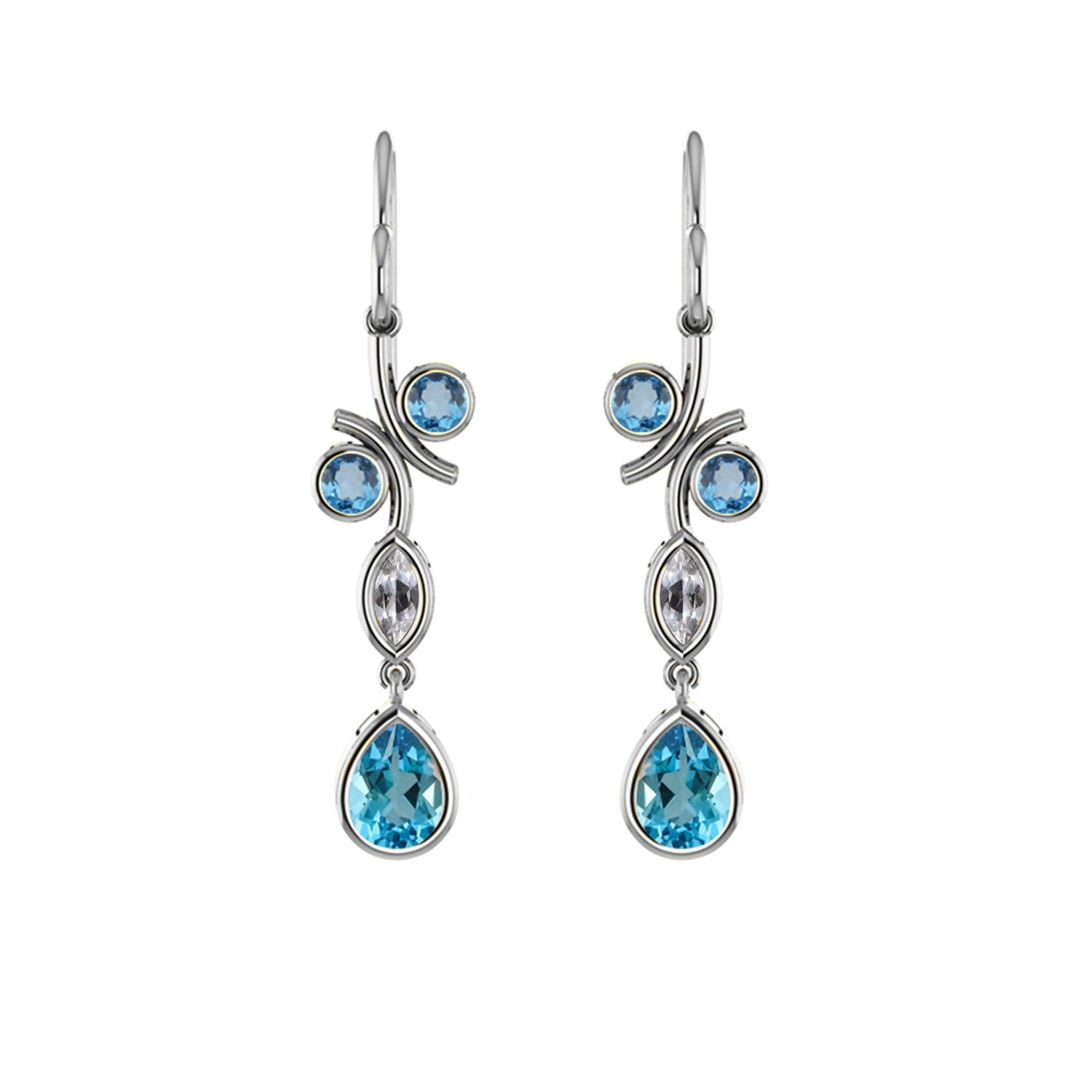 Created Blue Topaz & Created White Sapphire Earrings in Sterling Silver
