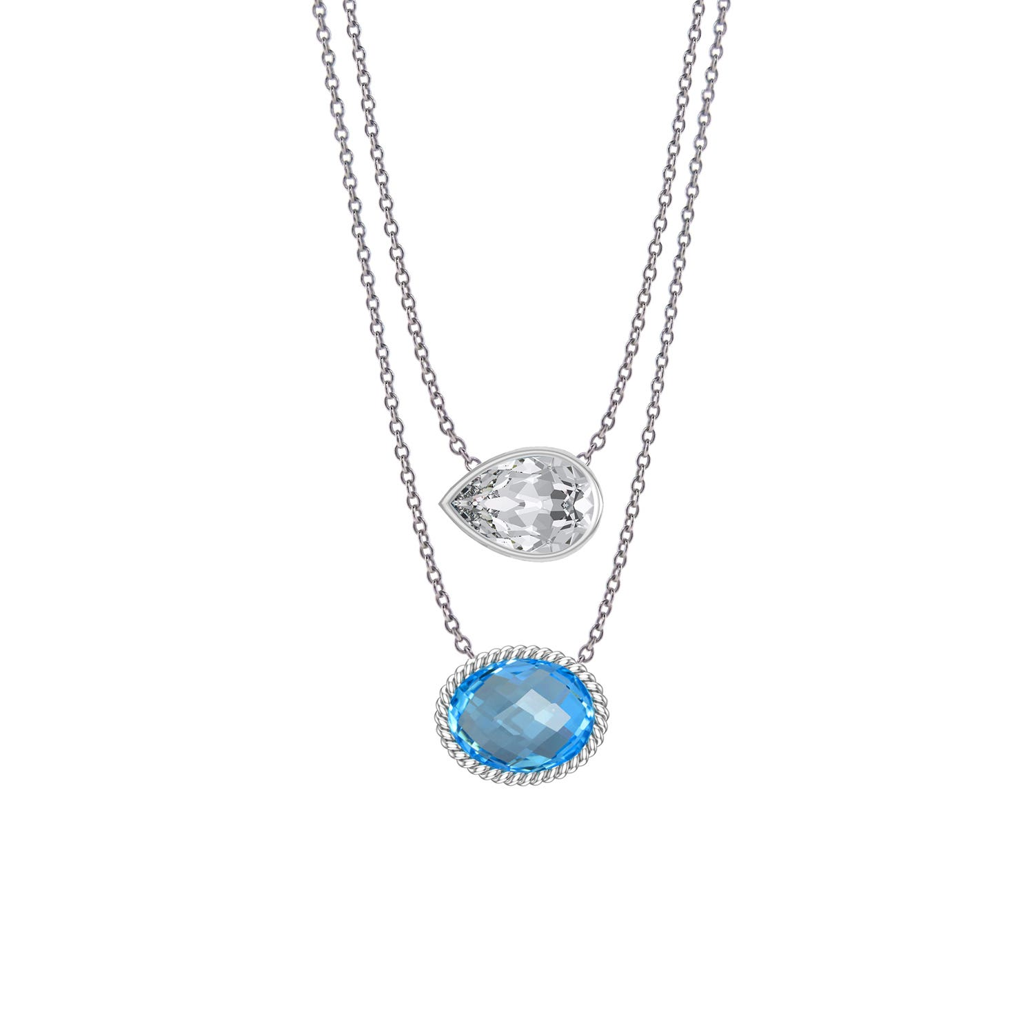 Blue Topaz & Created White Sapphire Necklace in Sterling Silver