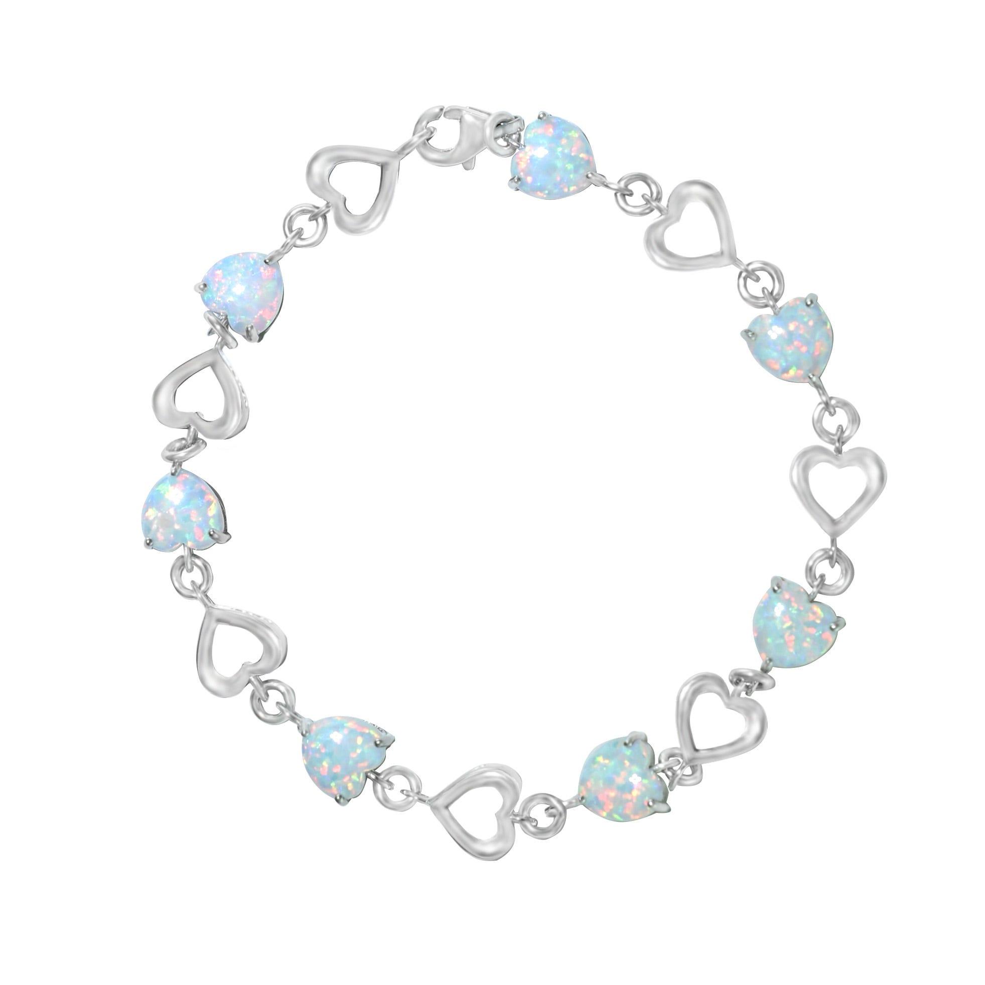 Created Opal Heart Bracelet in Sterling Silver