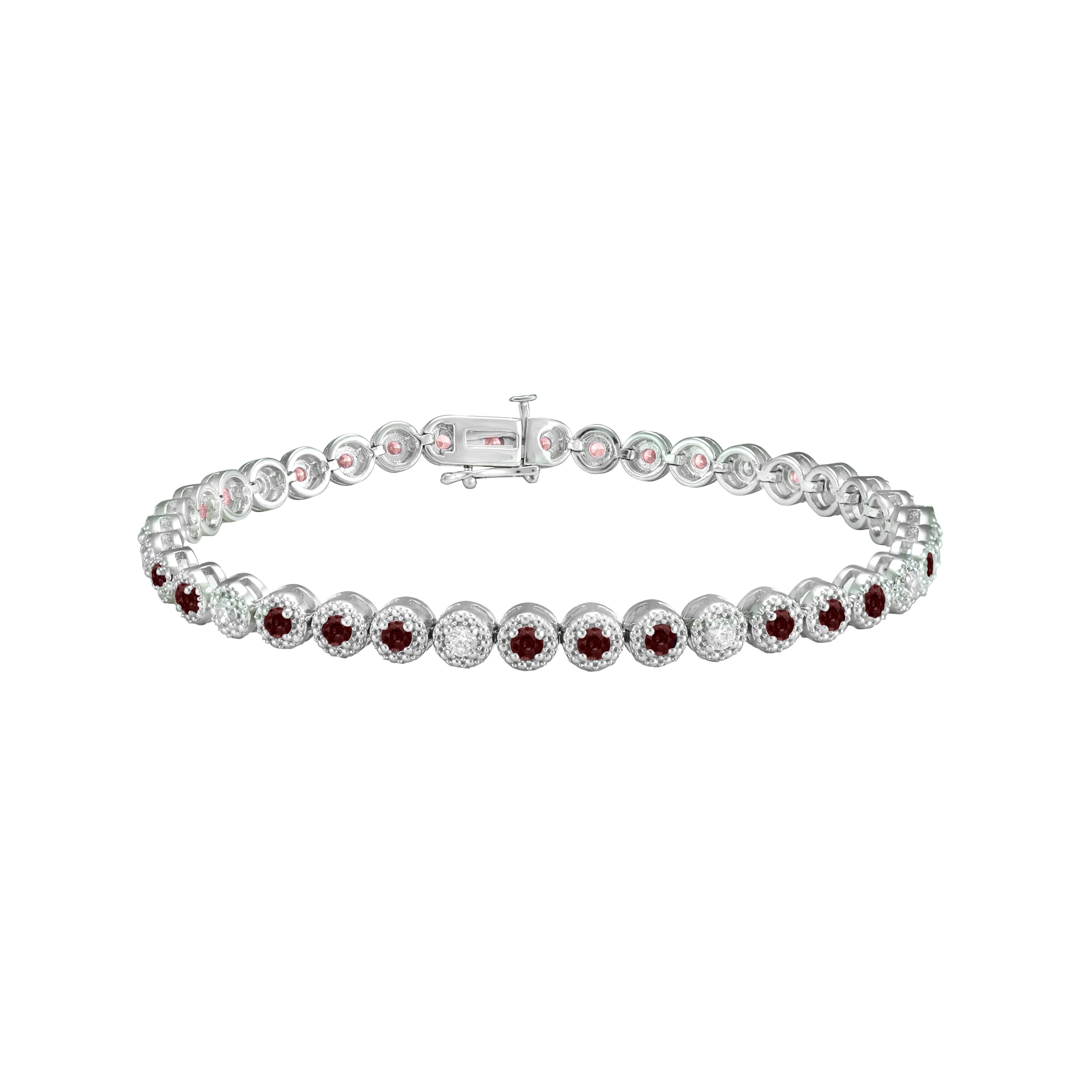 Ruby & Diamond Round Bracelet in 10k White Gold