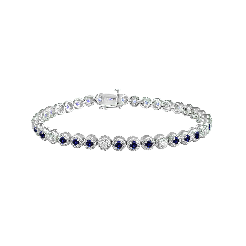 Sapphire & Diamond Round Bracelet in 10k White Gold