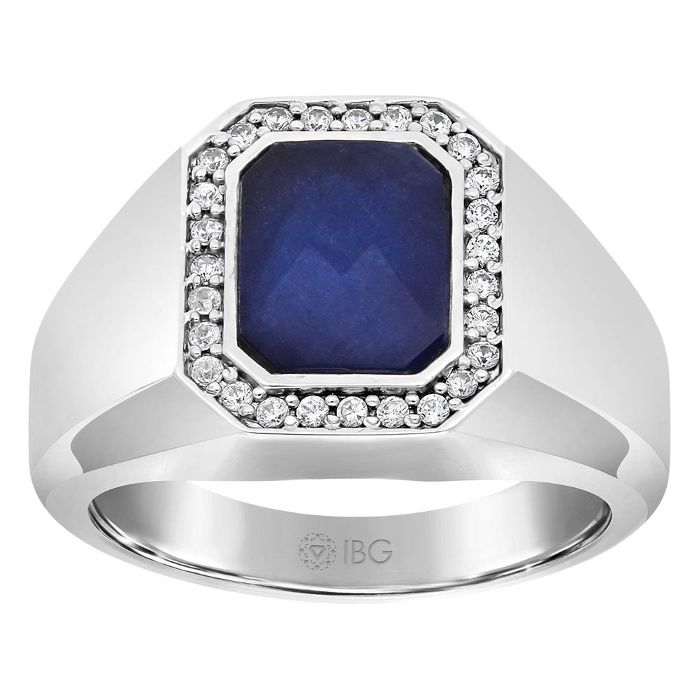 Men's Sapphire Doublet & Diamond Ring in 10k White Gold