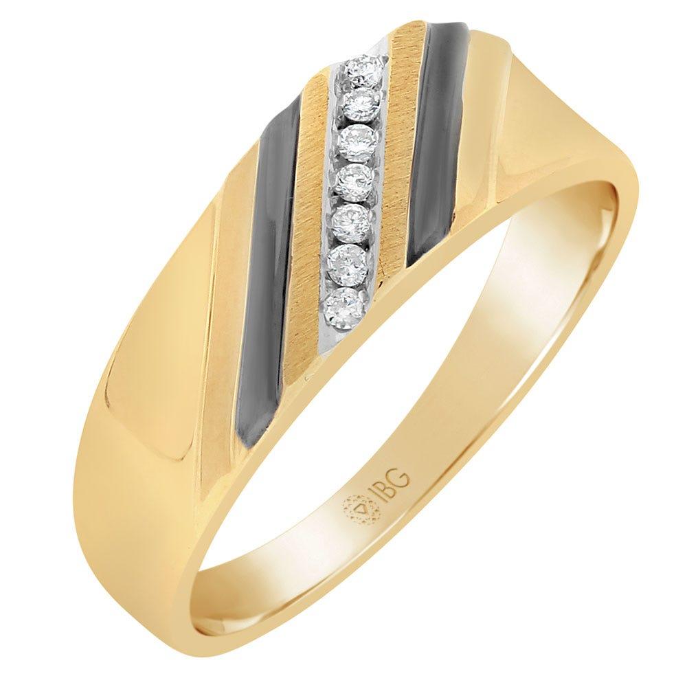 Men's Diamond Diagonal Design Ring in 10k Yellow Gold