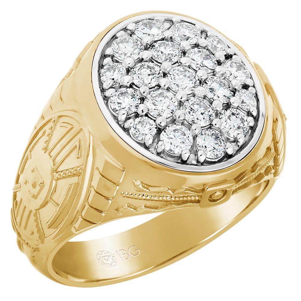 Men's Diamond Cluster Ring in 10k Yellow Gold