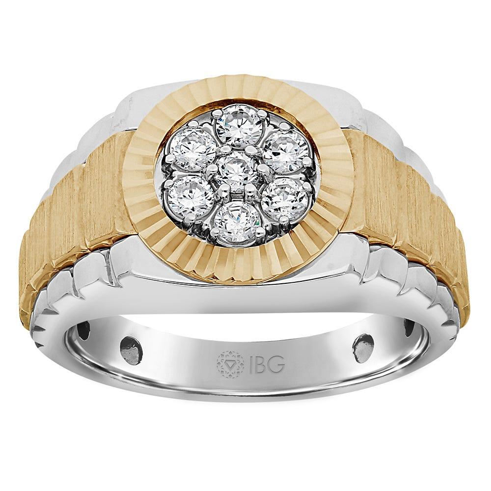 Men's Diamond Cluster Ring in 10k Yellow & White Gold