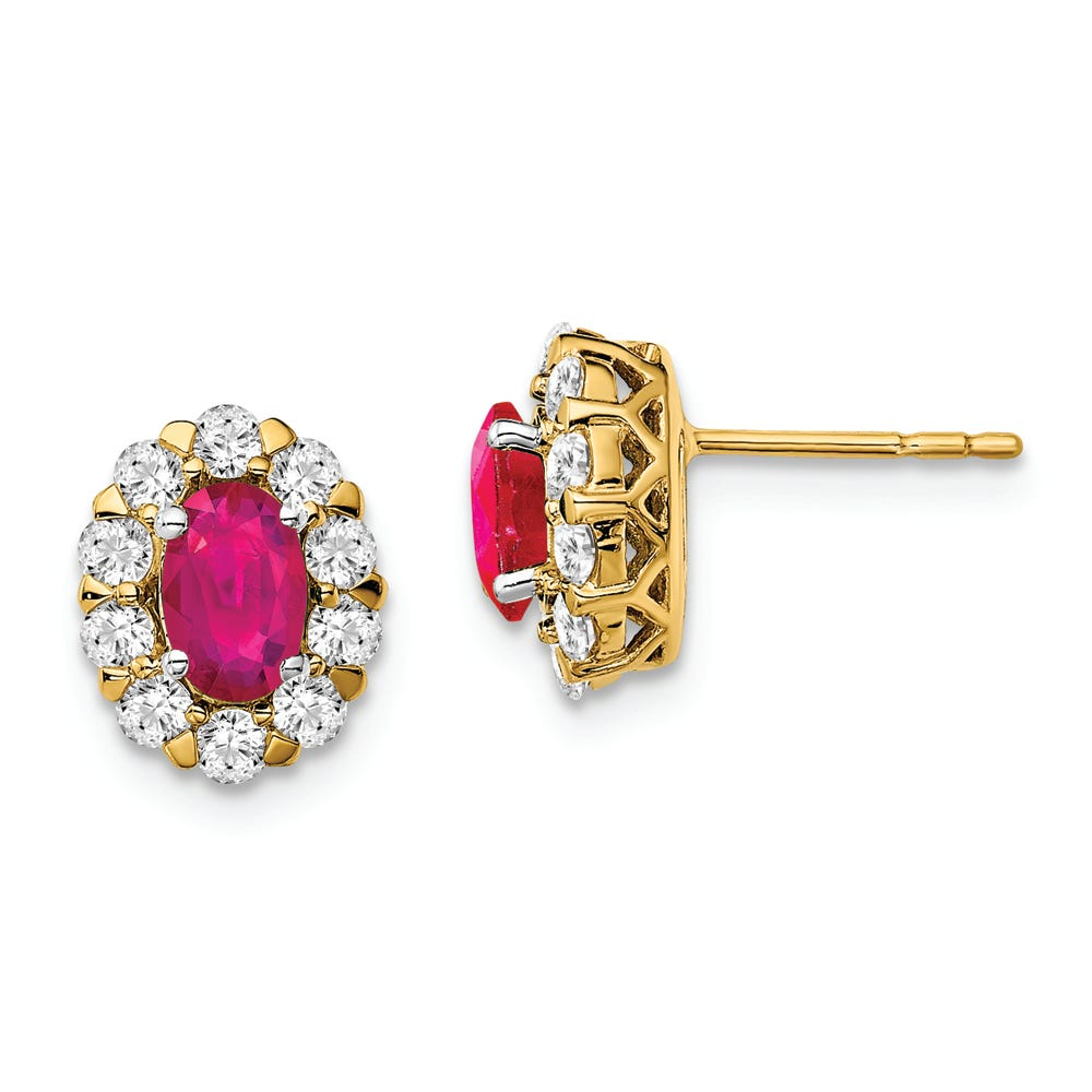 Lab-Crafted Diamond & Oval Created Ruby Earrings in 14k Yellow Gold