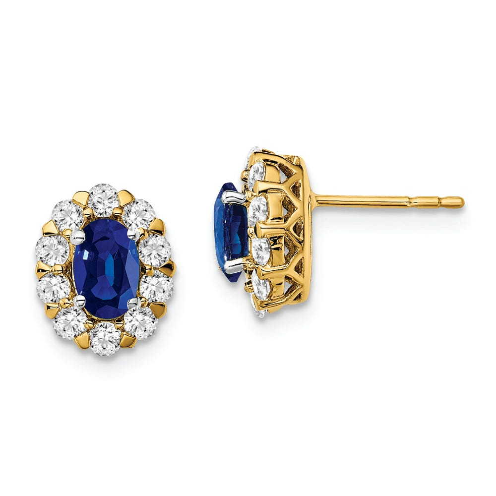 Lab Grown Diamond & Oval Created Sapphire Earrings in 14k Yellow Gold
