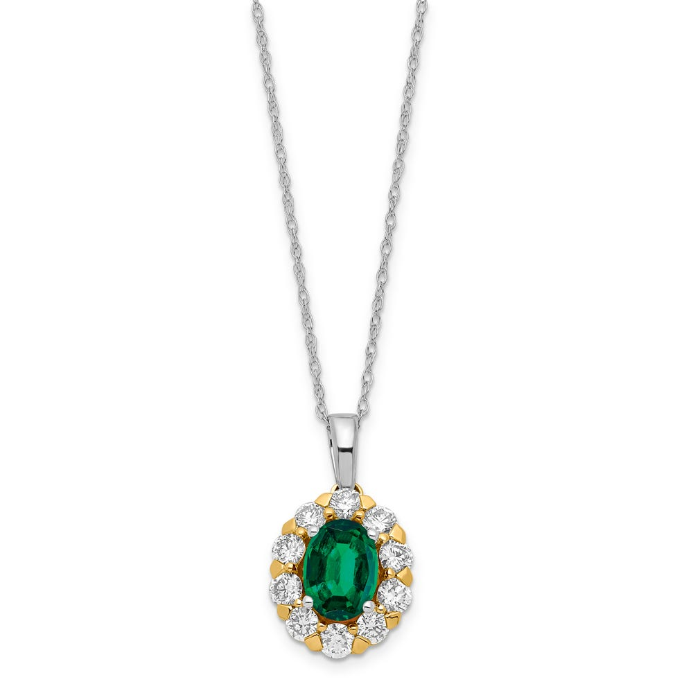 Lab Grown & Created Emerald Oval Halo Pendant in 14k Yellow & White Gold