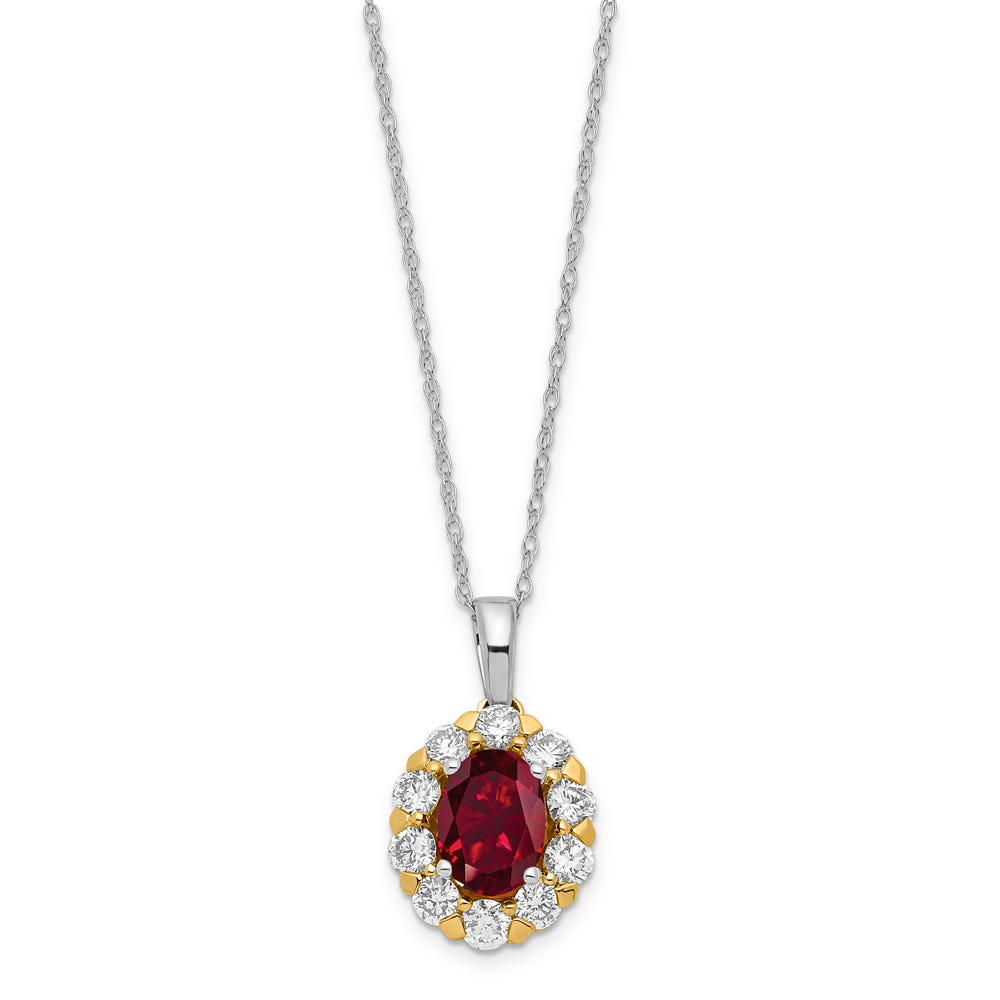 Lab Grown Diamond & Oval Created Ruby Pendant in 14k Gold