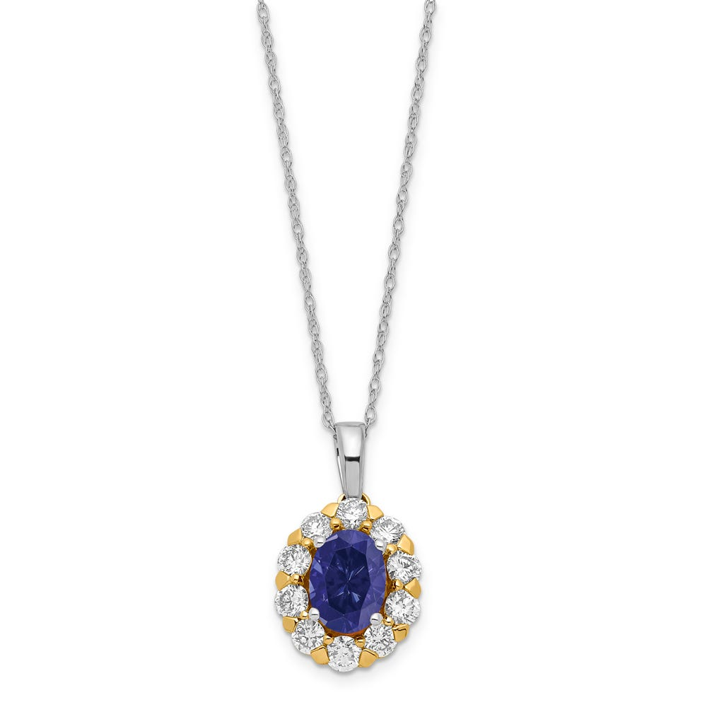 Lab-Crafted Diamond & Created Oval Sapphire Pendant in 14k Gold