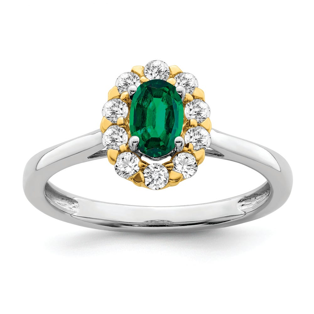 Lab Grown Diamond & Created Oval Emerald Ring in 14k Gold