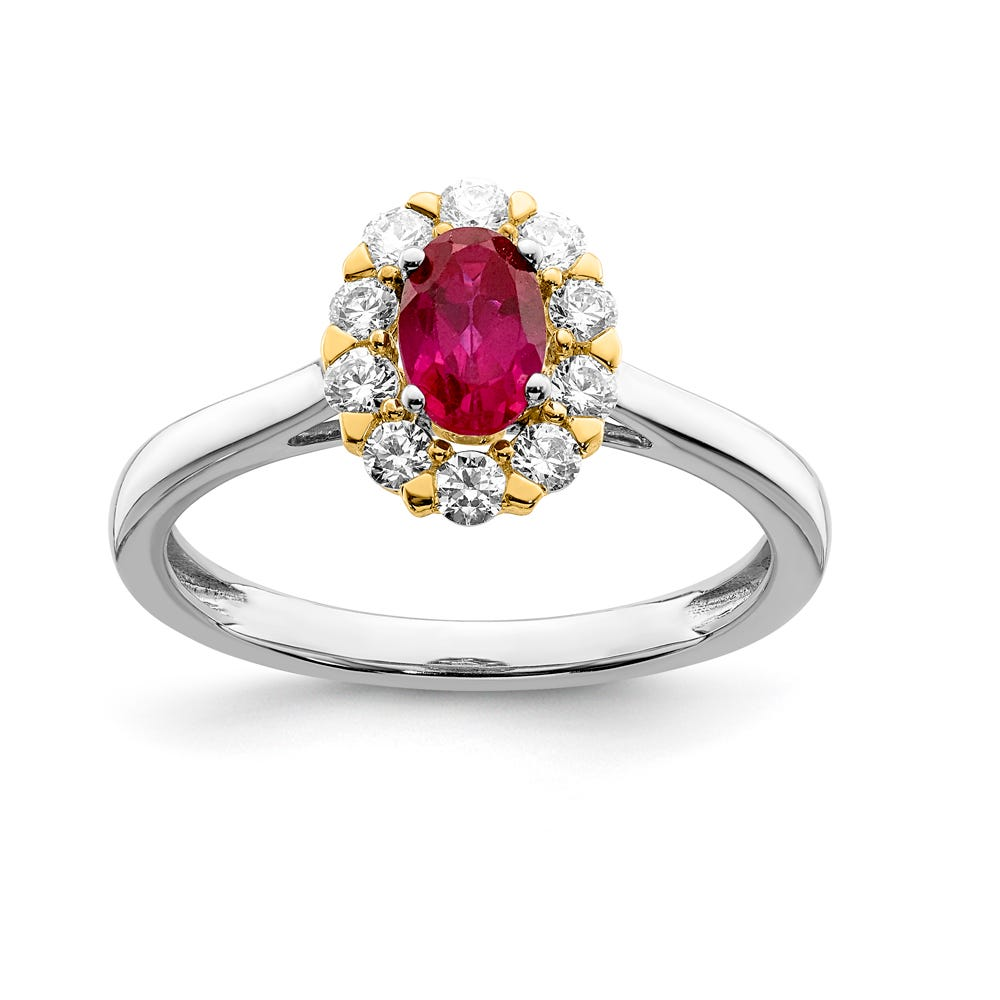 Lab Grown & Created Ruby Oval Halo Ring in 14k Yellow & White Gold