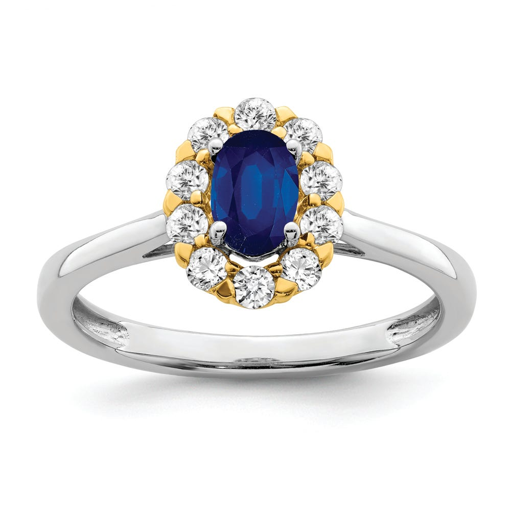 Lab-Crafted Diamond & Created Oval Sapphire Ring in 14k Gold