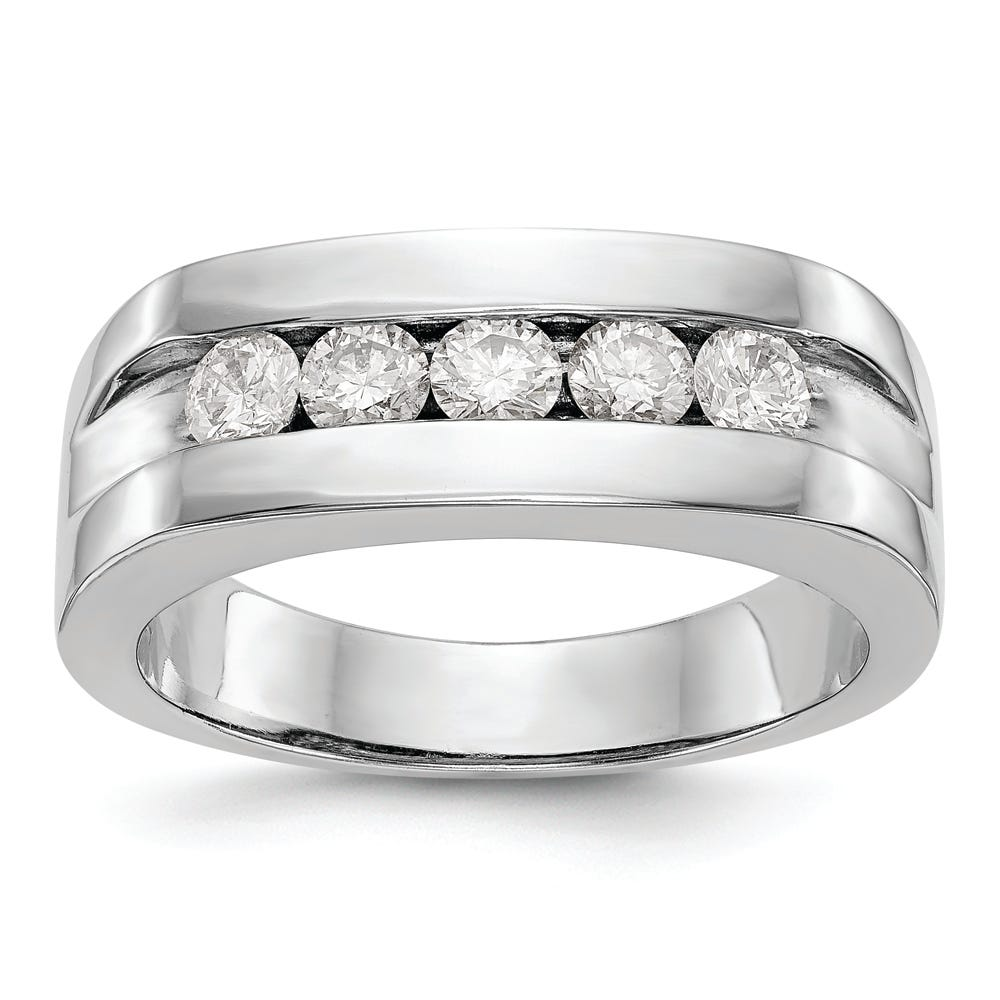Men's Lab Grown 5 Stone Channel Band in 14k White Gold