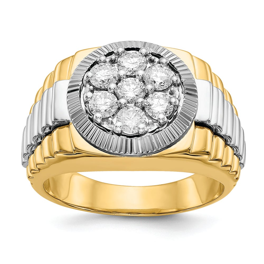 Lab Grown 1ct. Diamond Cluster Ring in 14k Two-Tone