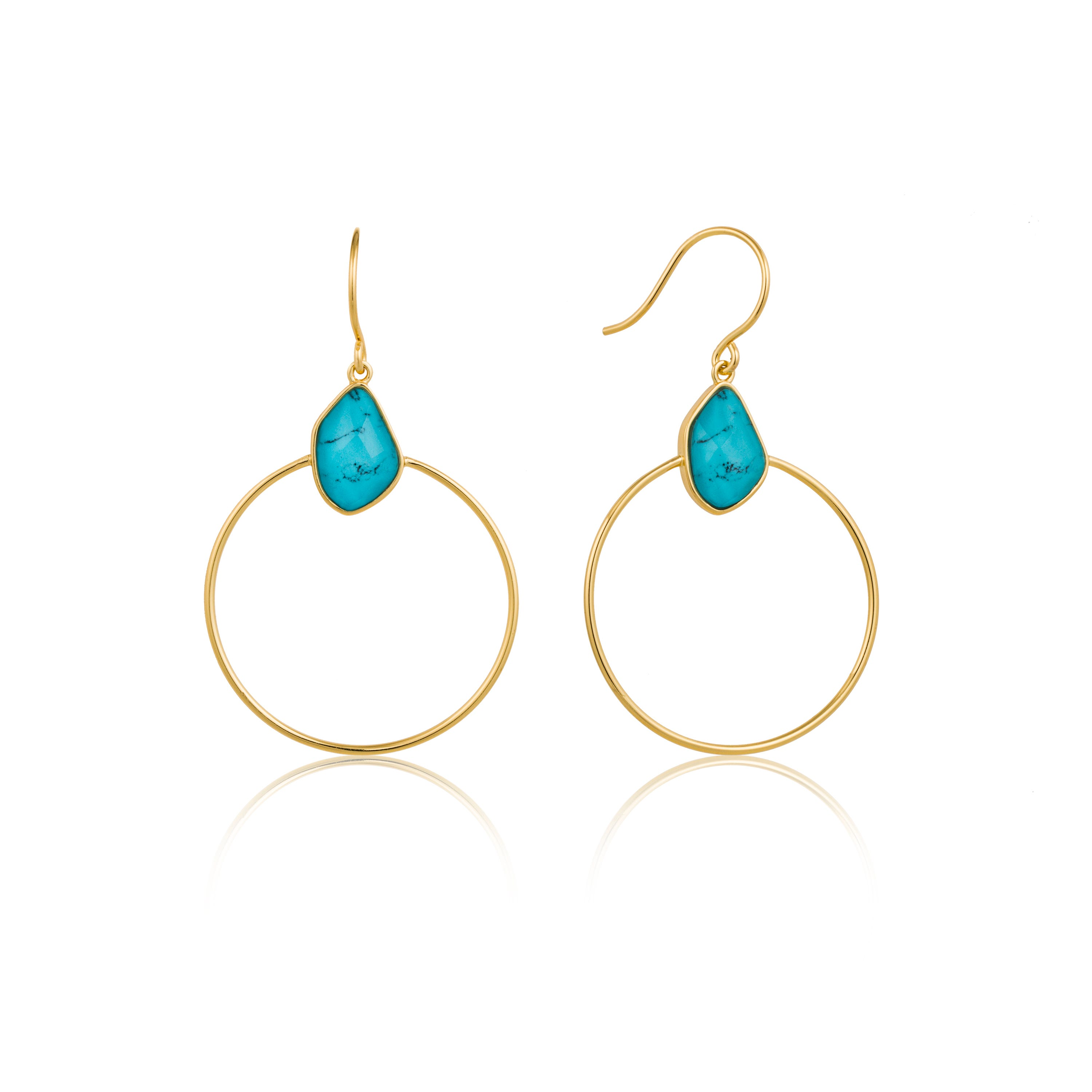 Turquoise Front Hoop Earrings in Sterling Silver/Gold Plated