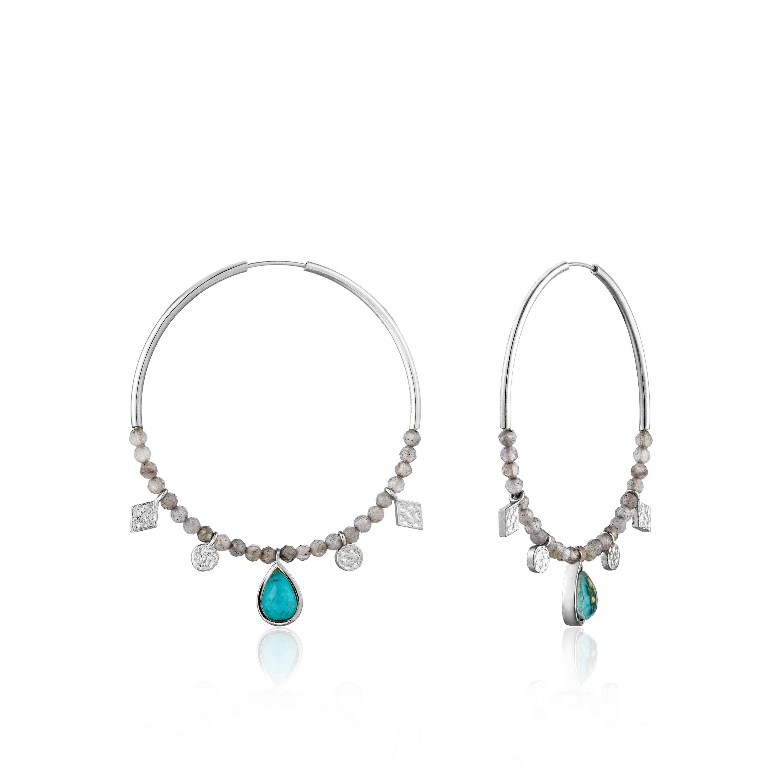 Turquoise Labradorite Hoop Earrings in Sterling Silver