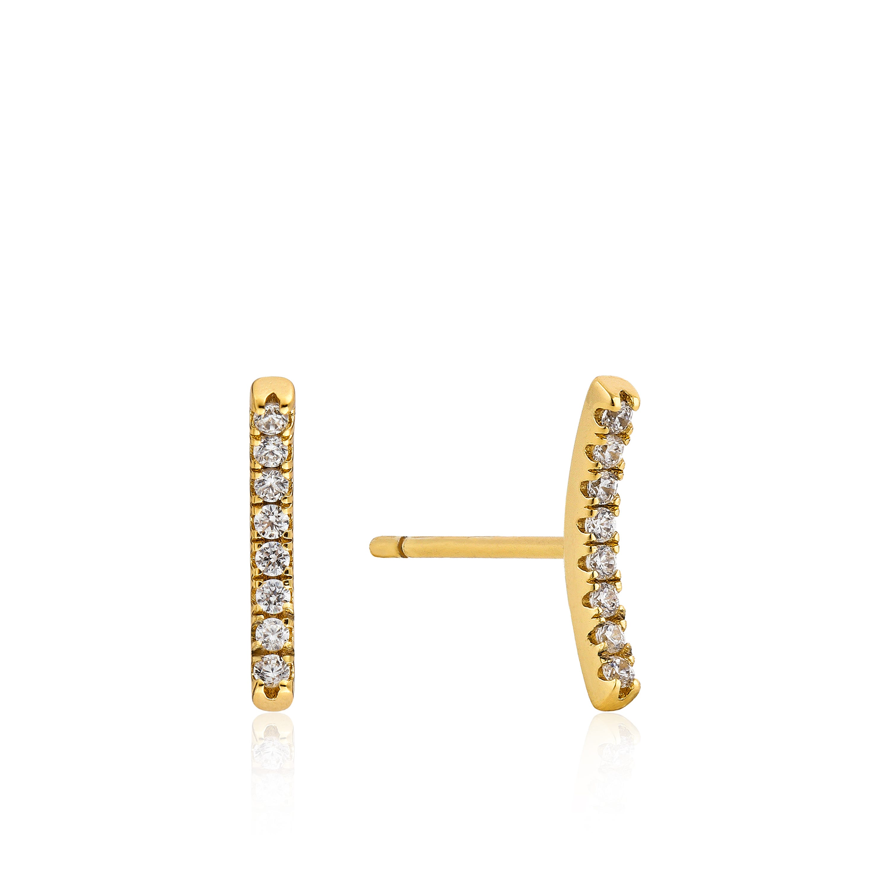 Shimmer Pave Bar Stud Earrings in Sterling Silver/Gold Plated