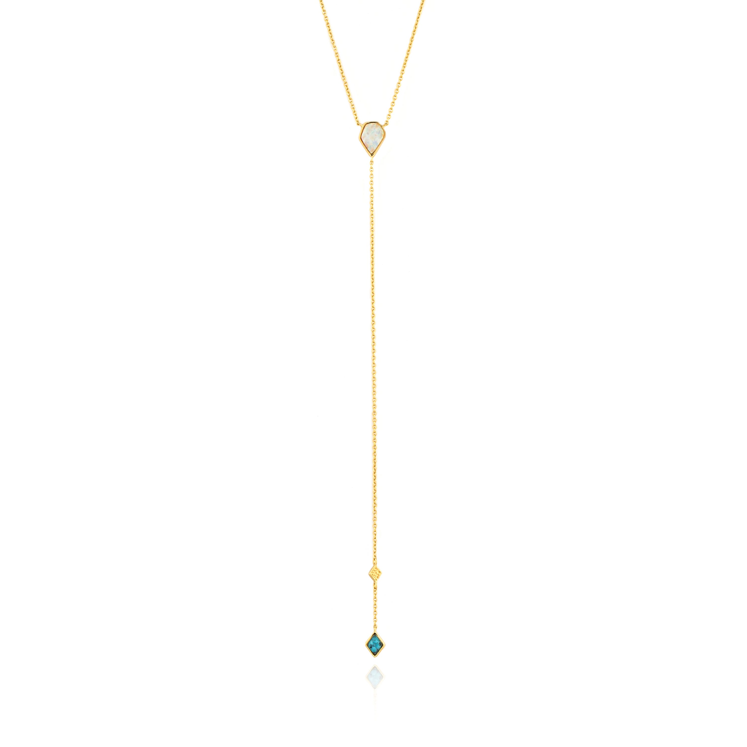 Turquoise & Opal Y Necklace in Sterling Silver/Gold Plated