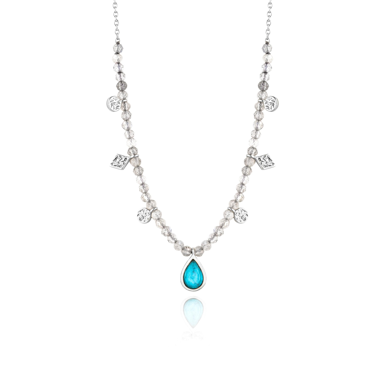 Labradorite Pendant with 925 Silver Chain Medium Oval