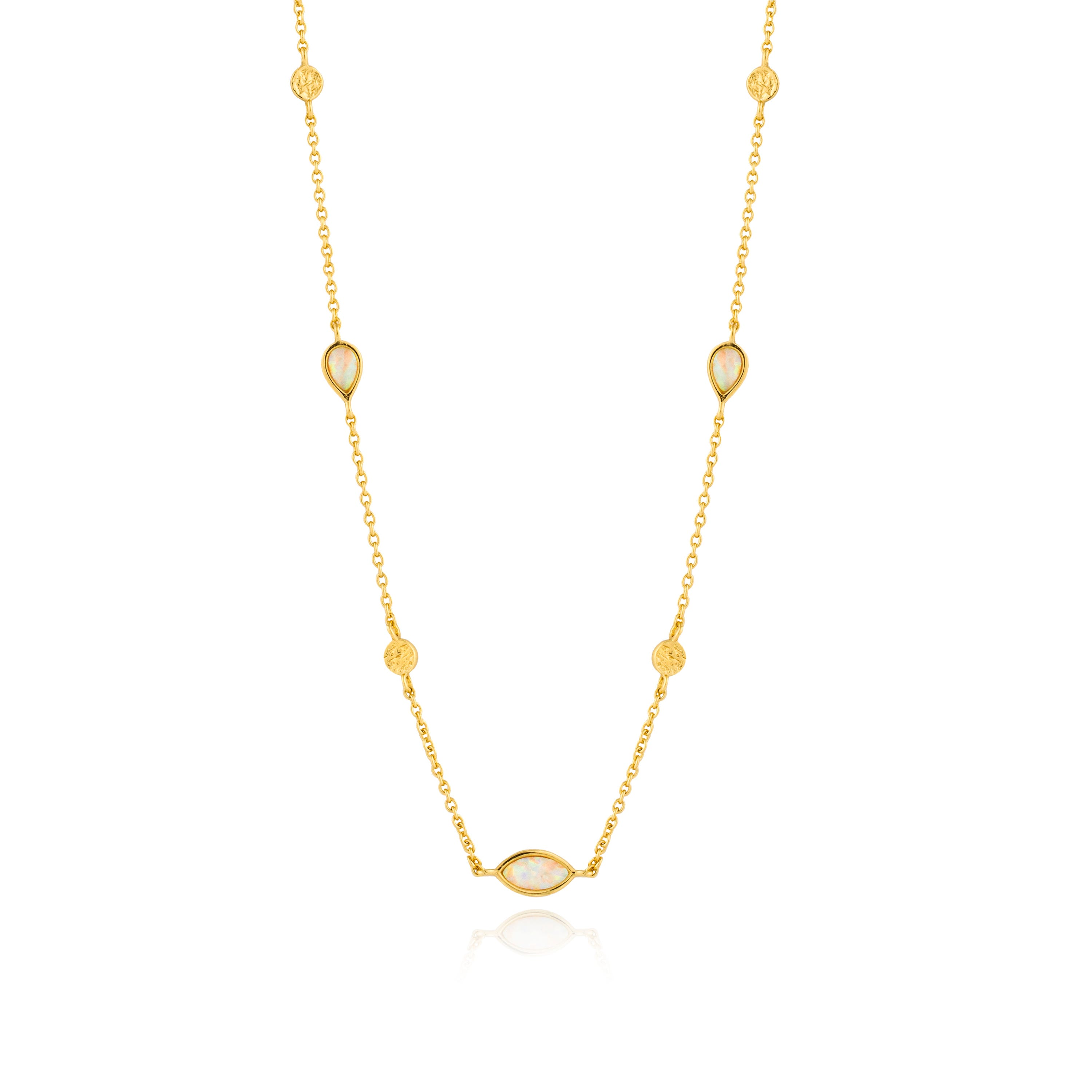 Opal Necklace in Sterling Silver/Gold Plated