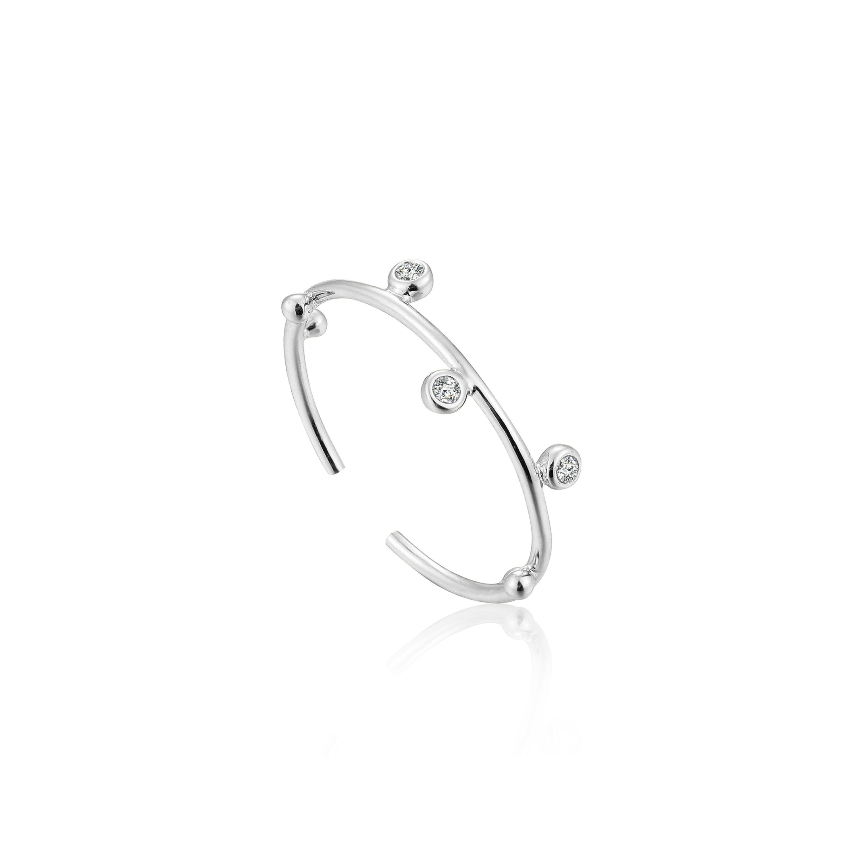 Shimmer Stud Adjustable Ring in Sterling Silver