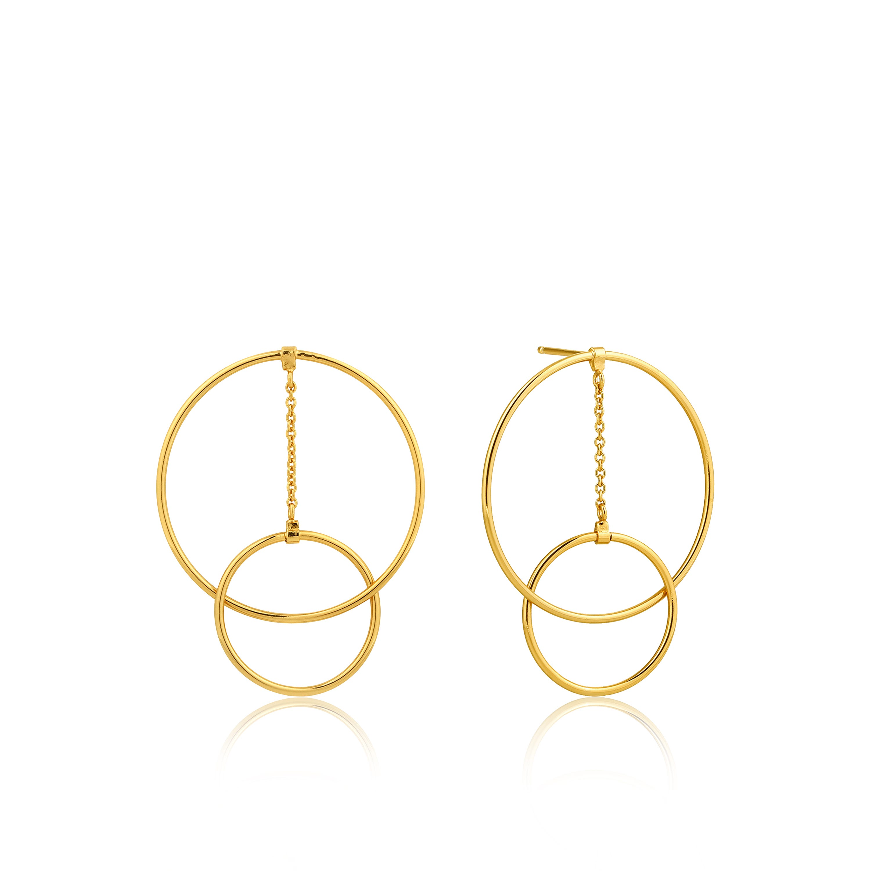 Modern Front Hoop Earrings in Sterling Silver/Gold Plated