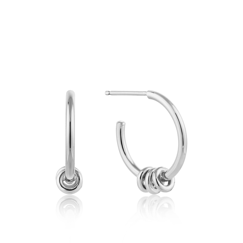 Modern Hoop Earrings in Sterling Silver