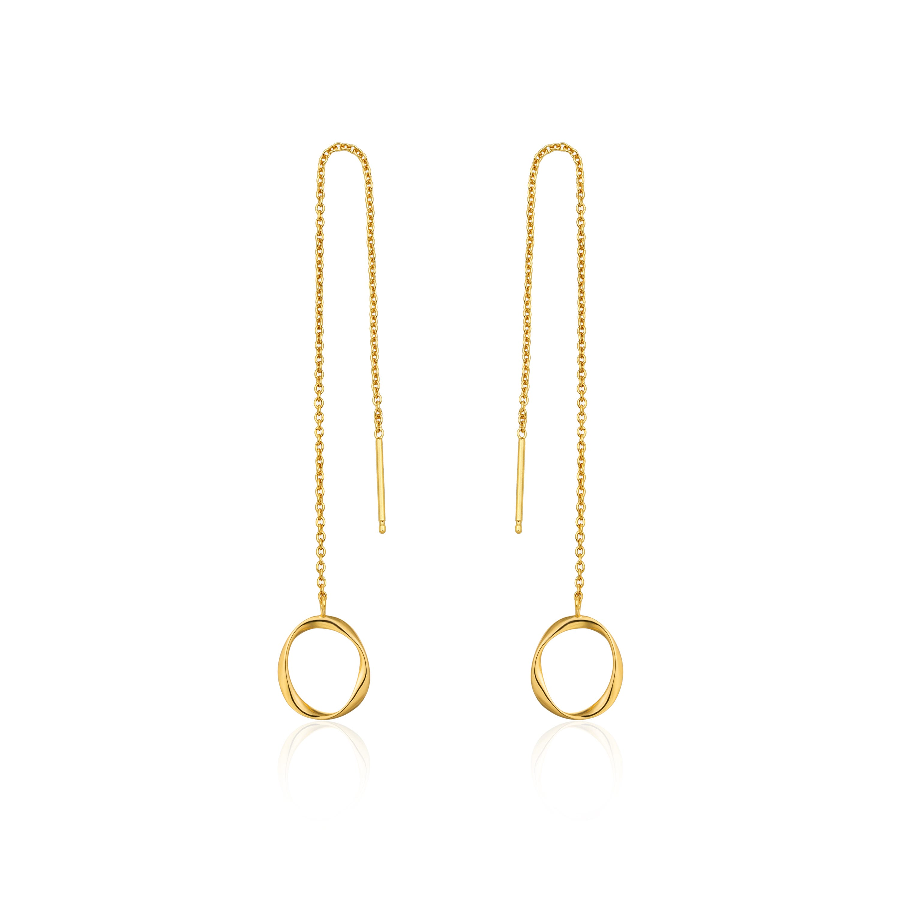 Swirl Threader Earrings in Sterling Silver/Gold Plated