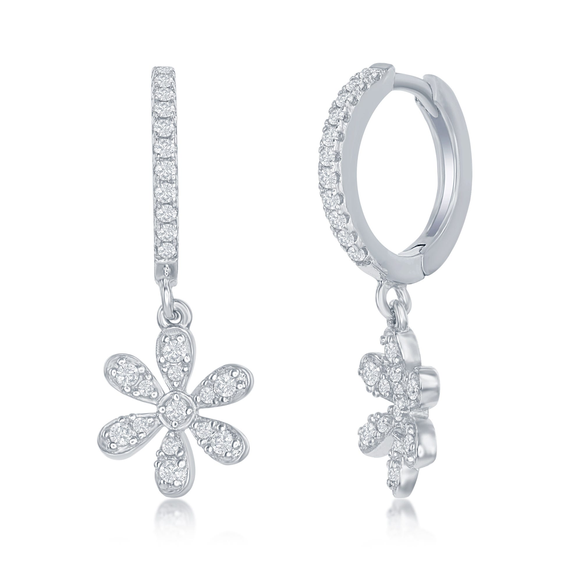 Flower CZ Dangle Hoop Earrings in Sterling Silver