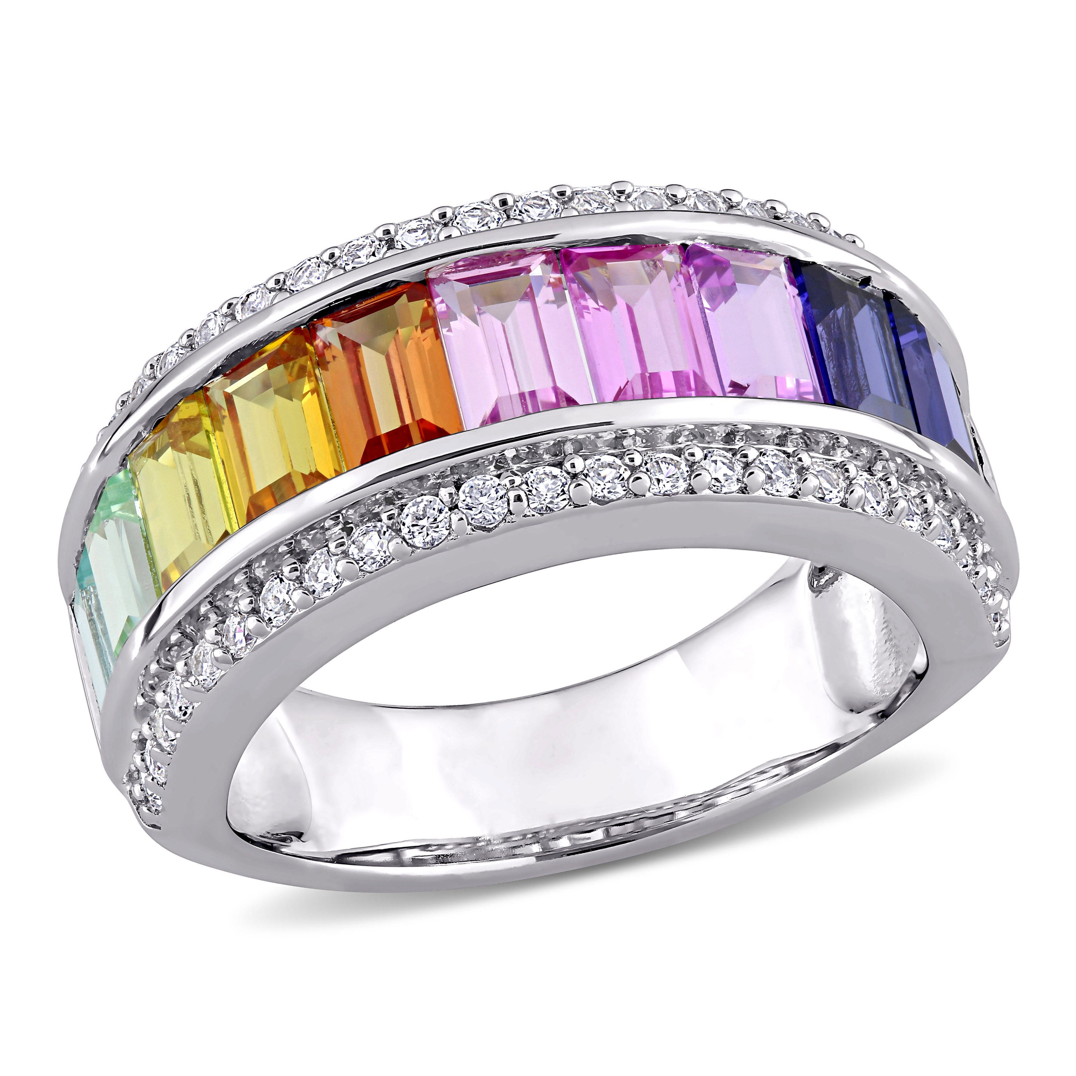 Rainbow Created Sapphire Baguette Fashion Ring in Sterling Silver