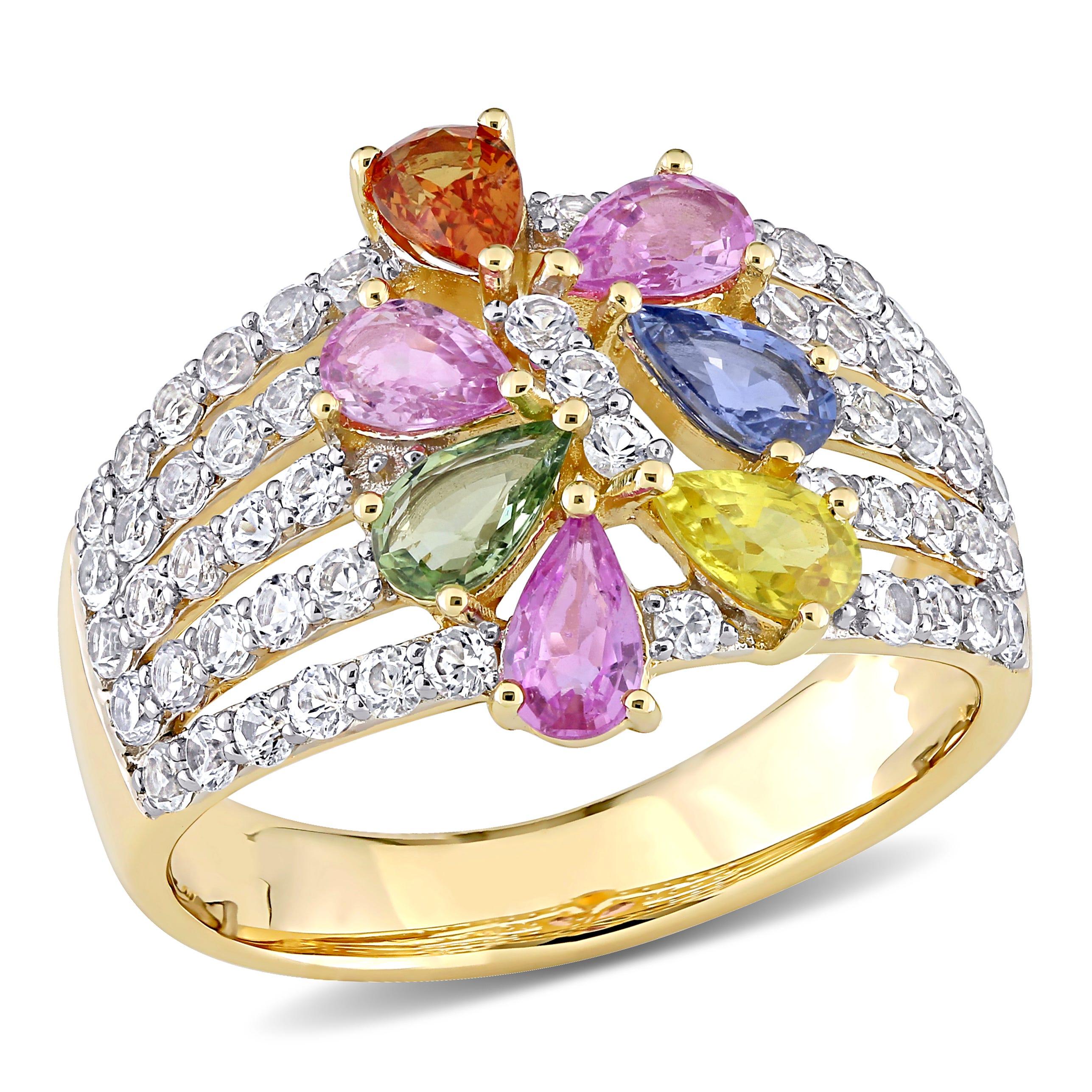 Rainbow Created Sapphire & Diamond Fashion Ring in 14k Yellow Gold
