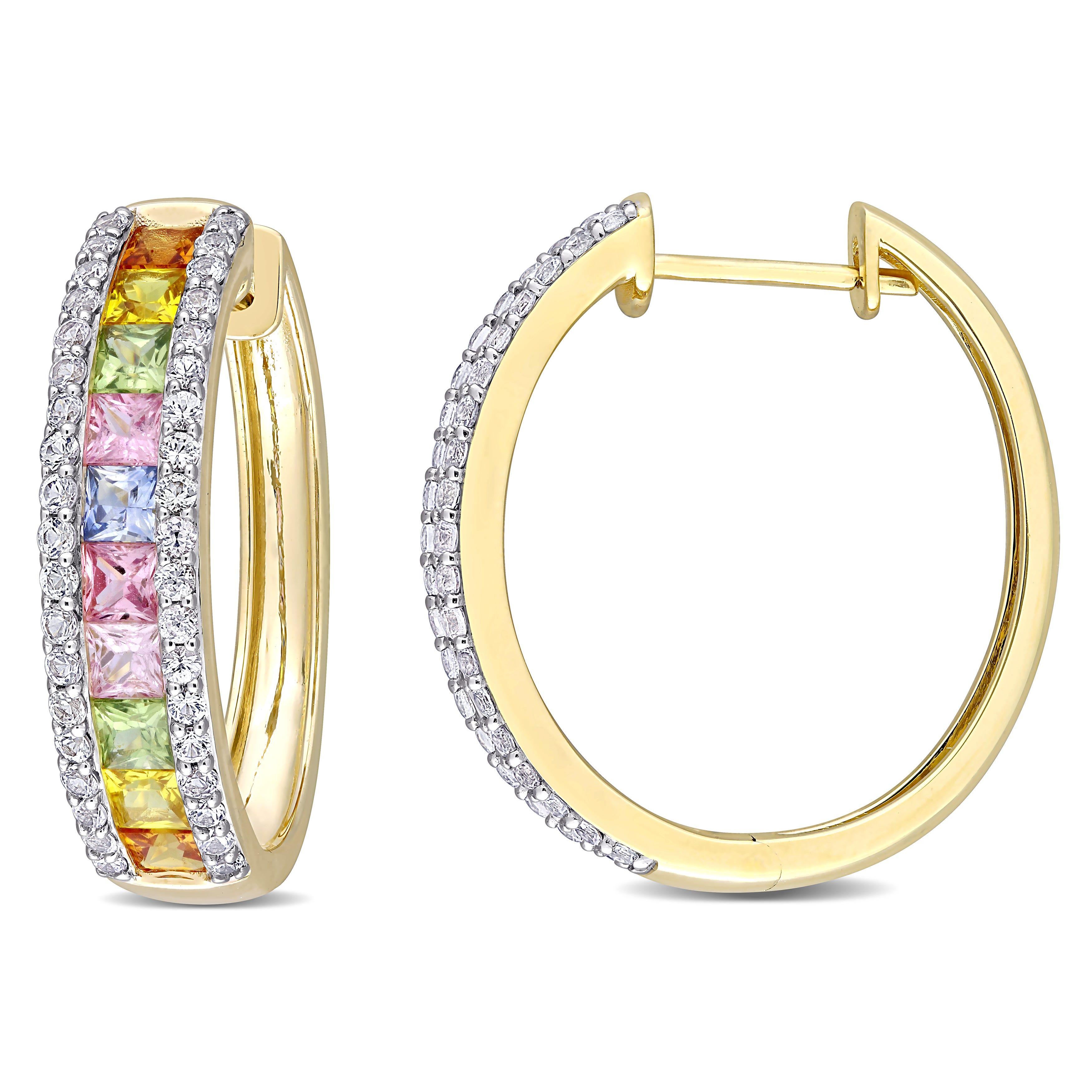 Rainbow Created Sapphire Hoop Earrings in 14k Yellow Gold