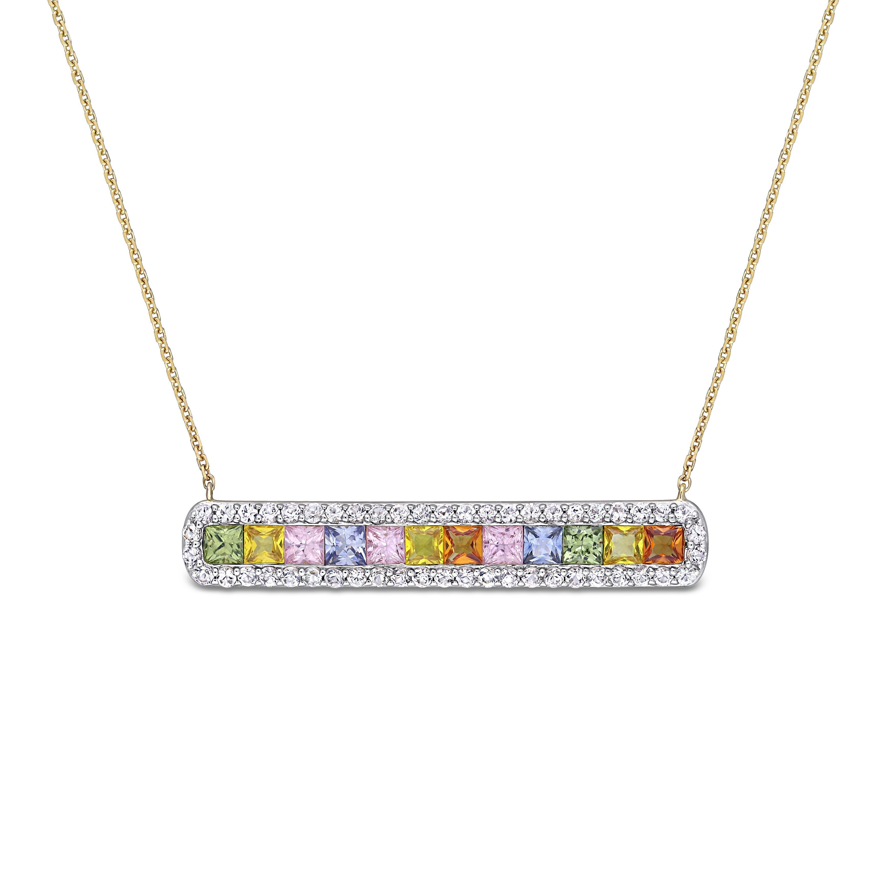 Rainbow Created Sapphire & Diamond Bar Necklace in 14k Yellow Gold