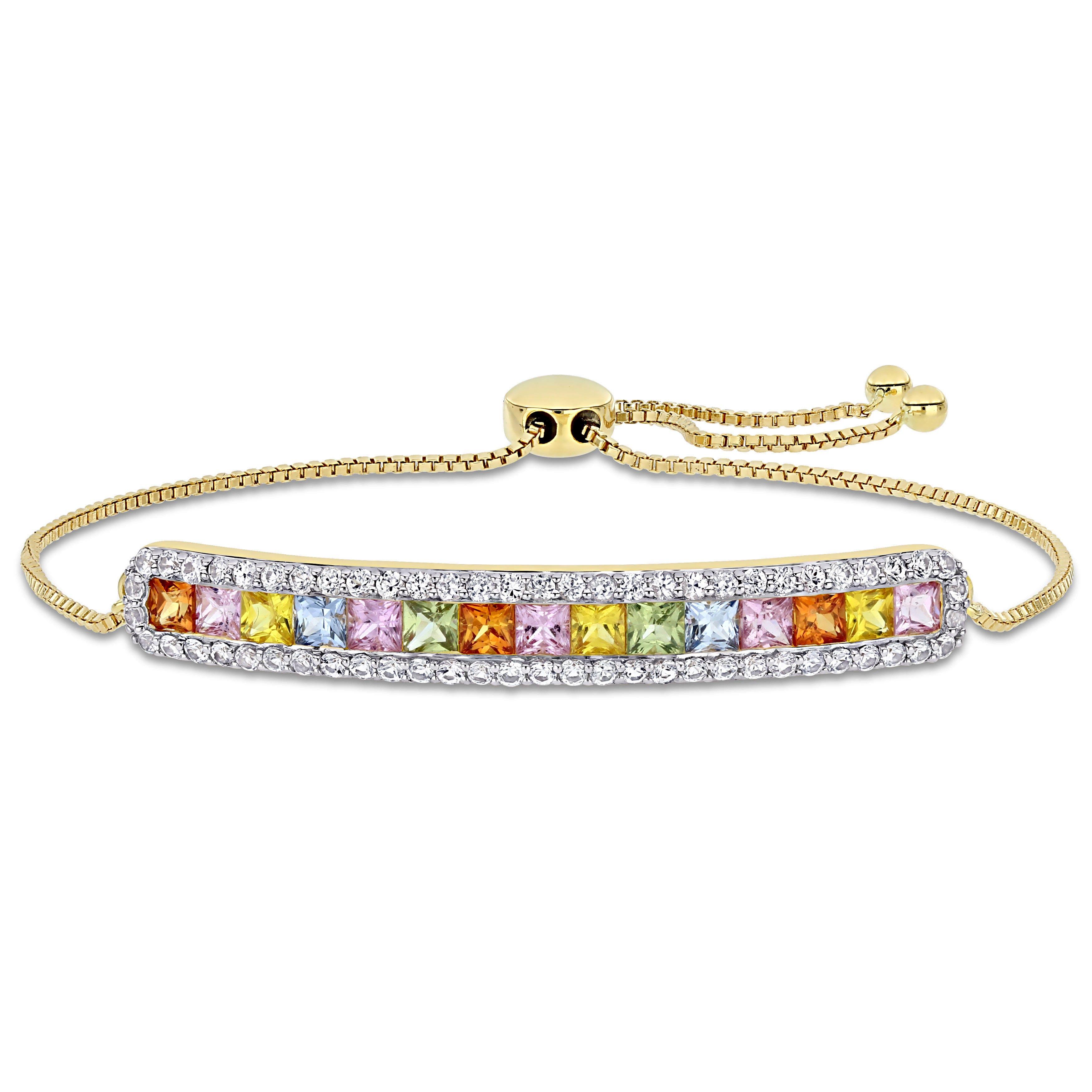 Rainbow Created Sapphire & Diamond Princess Cut  Bolo Bracelet in 14k Yellow Gold