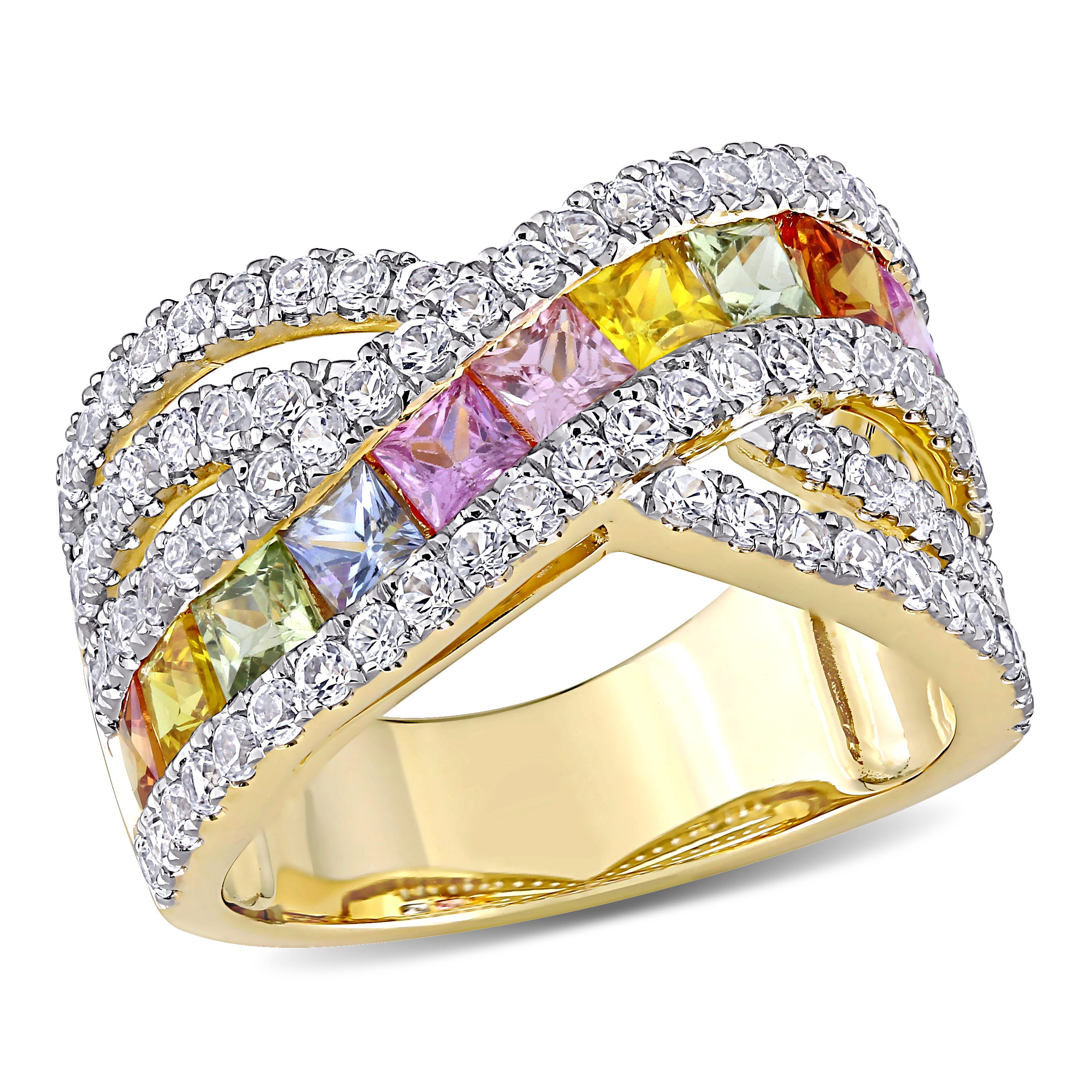 Rainbow Created Sapphire & Diamond Princess Cut Ring in 14k Yellow Gold