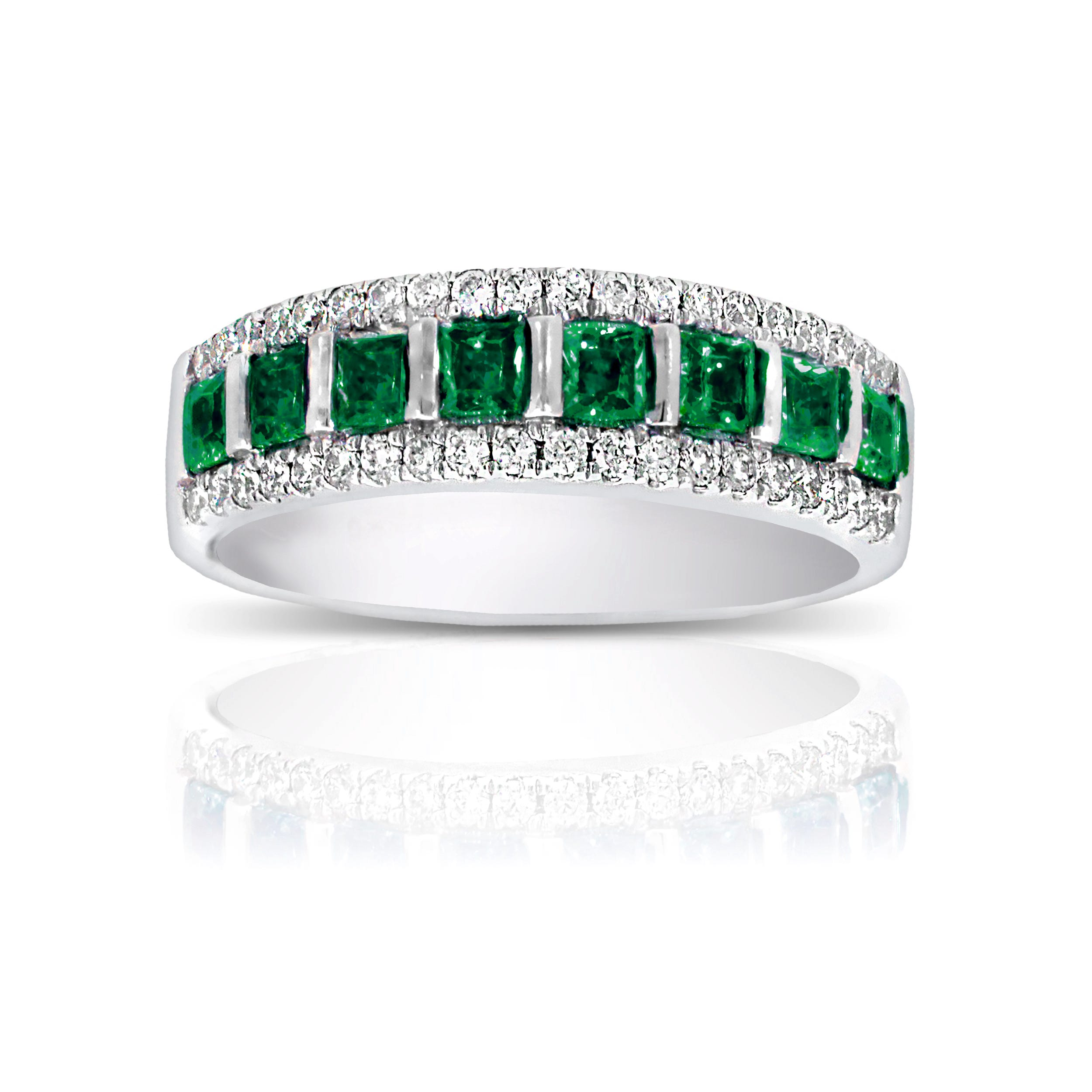 Emerald & Diamond Princess Cut Band in 10k White Gold