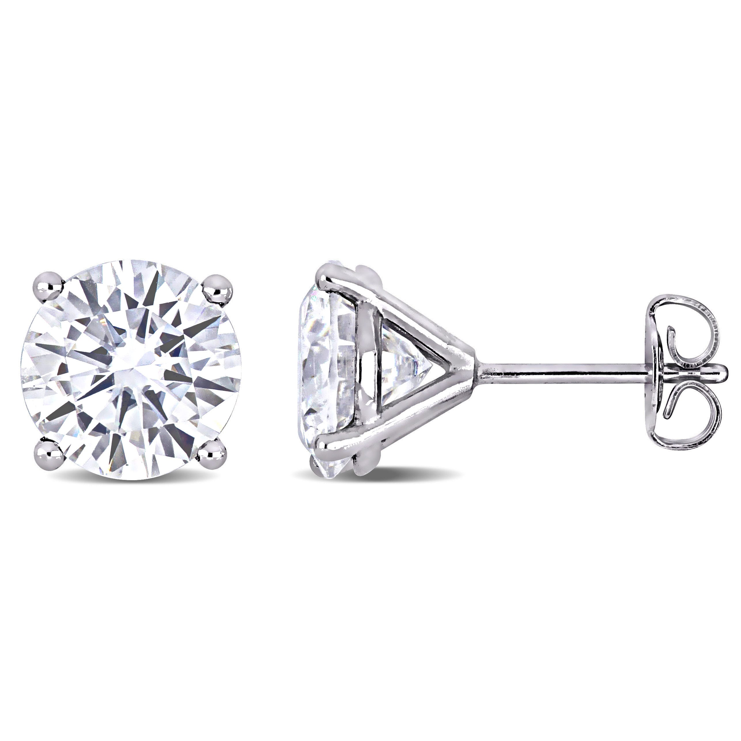 Created Moissanite Solitaire Stud Earrings in 14k White Gold