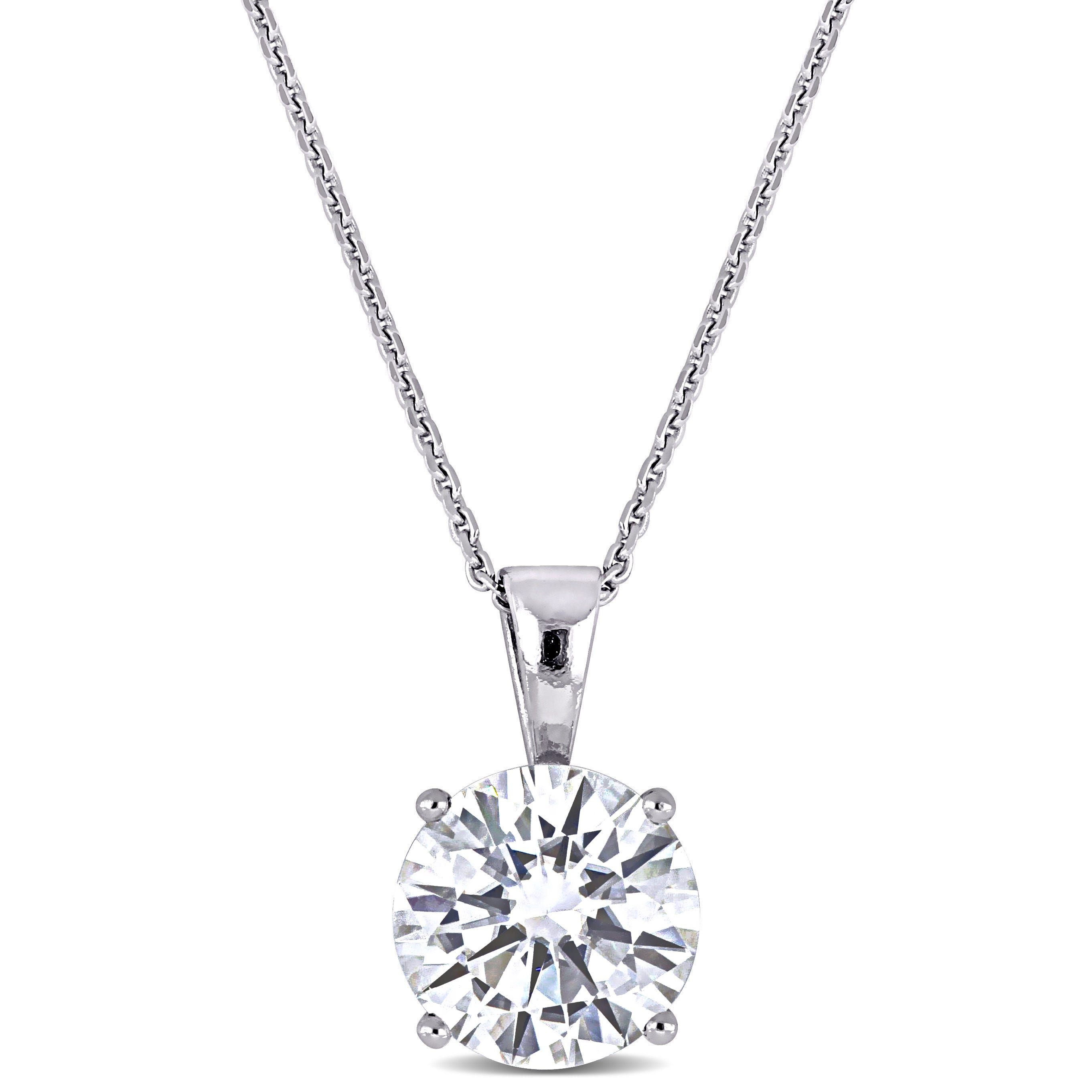 Created Moissanite Solitaire Pendant in 14k White Gold