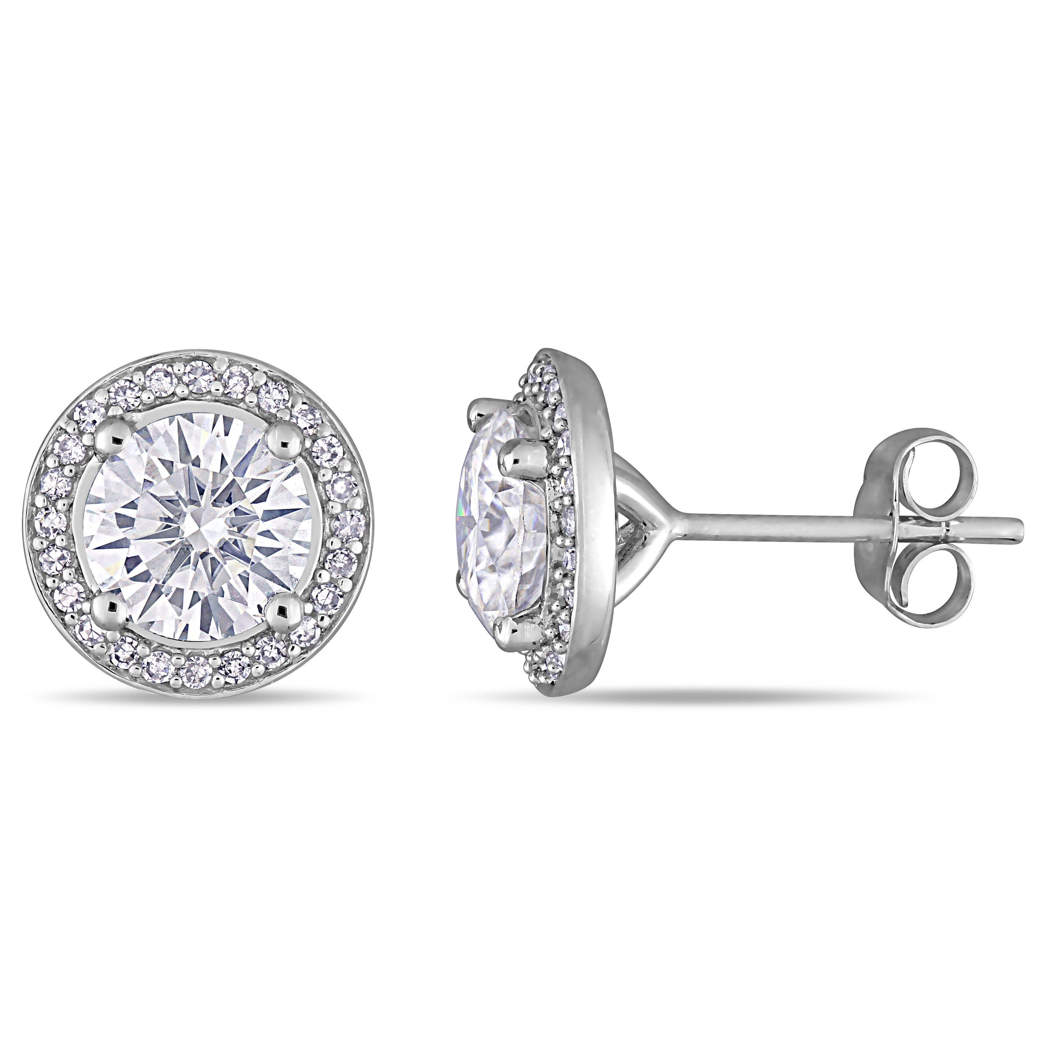 Moissanite & Diamond Halo Stud Earrings in 14k White Gold