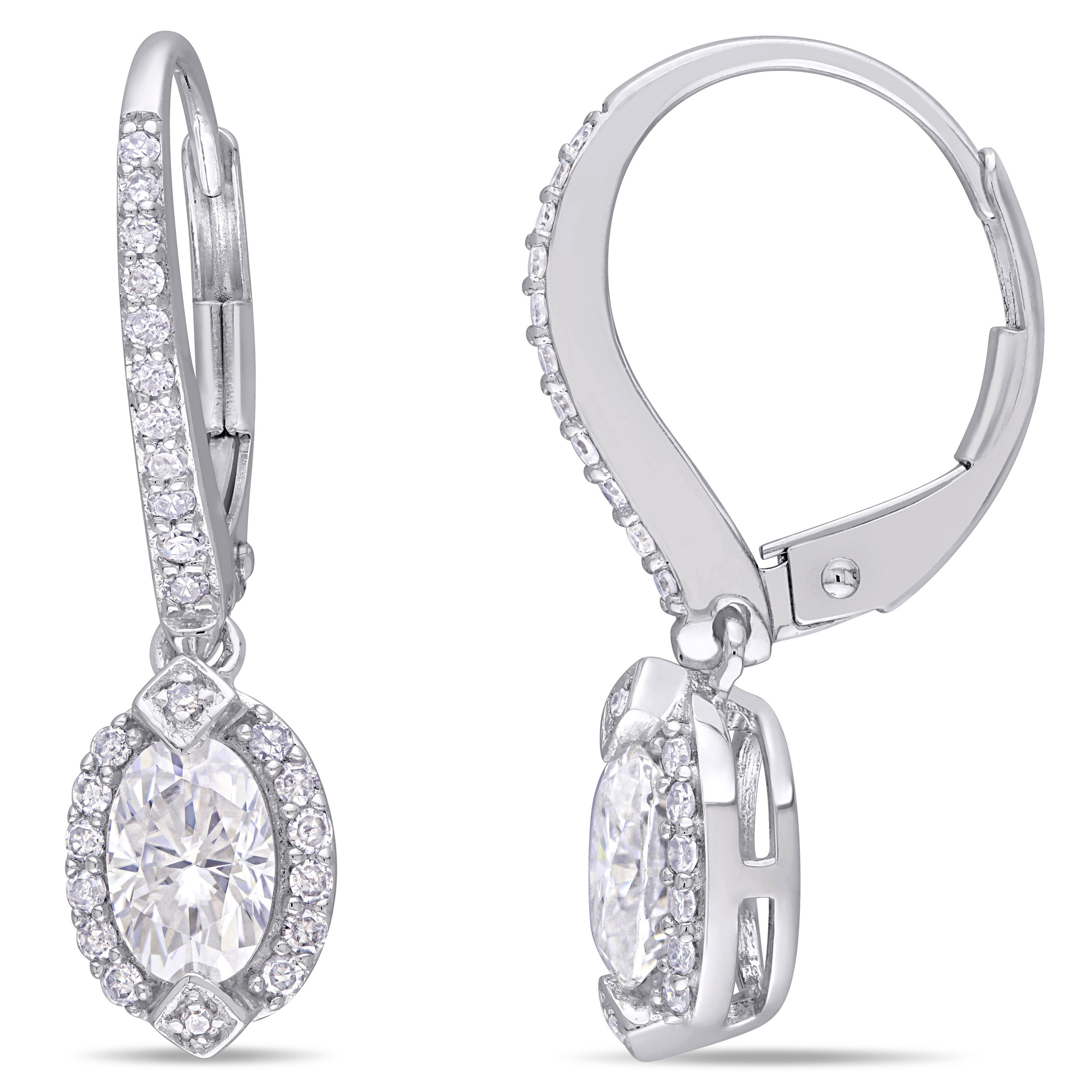Created Moissanite Diamond Drop Earrings In 10k White Gold