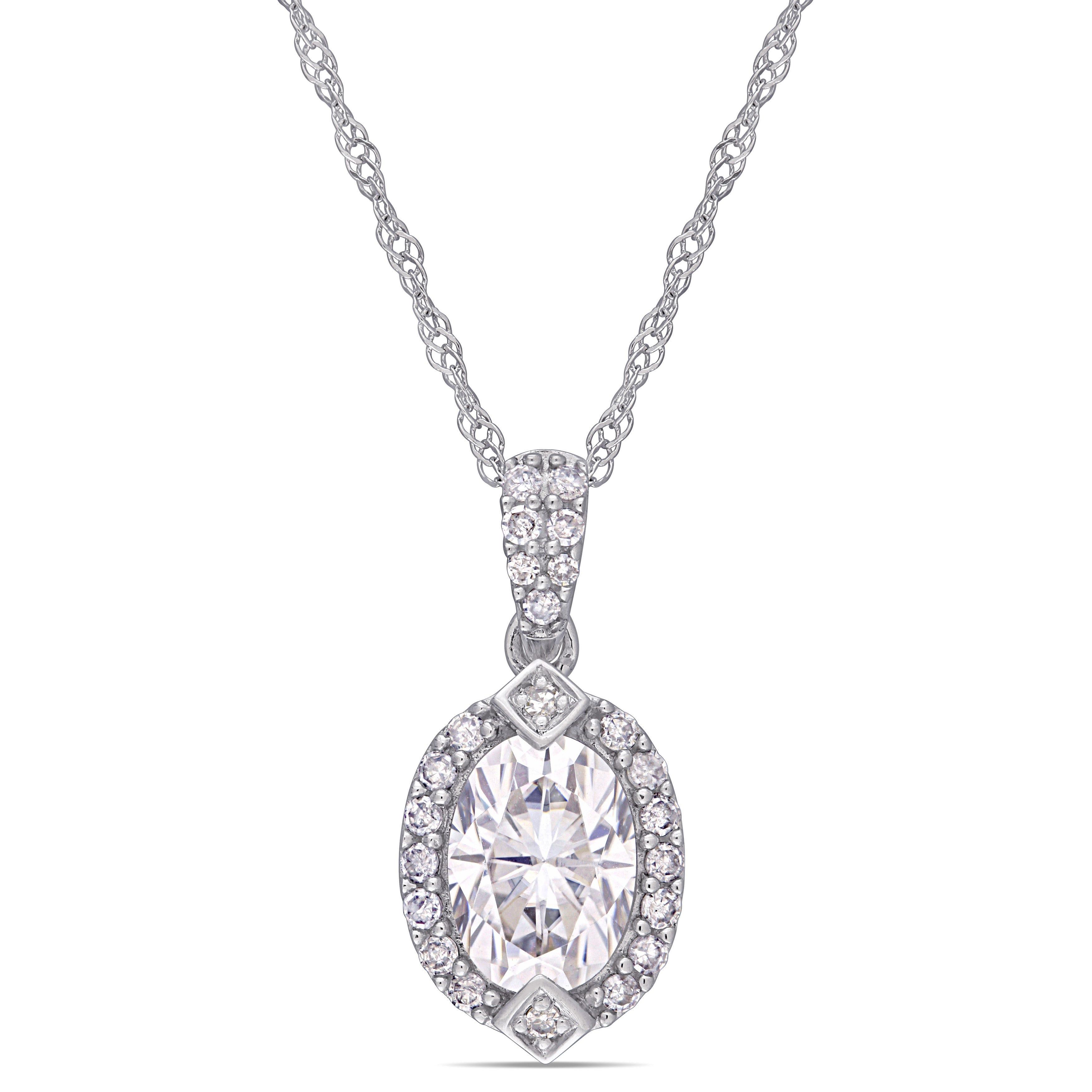 Created Moissanite & Diamond Pendant in 10k White Gold